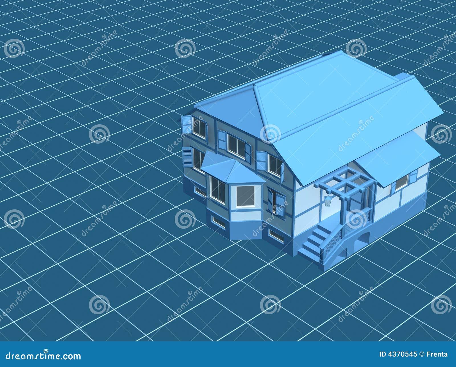 3d model het huis, waard op een digitale oppervlakte