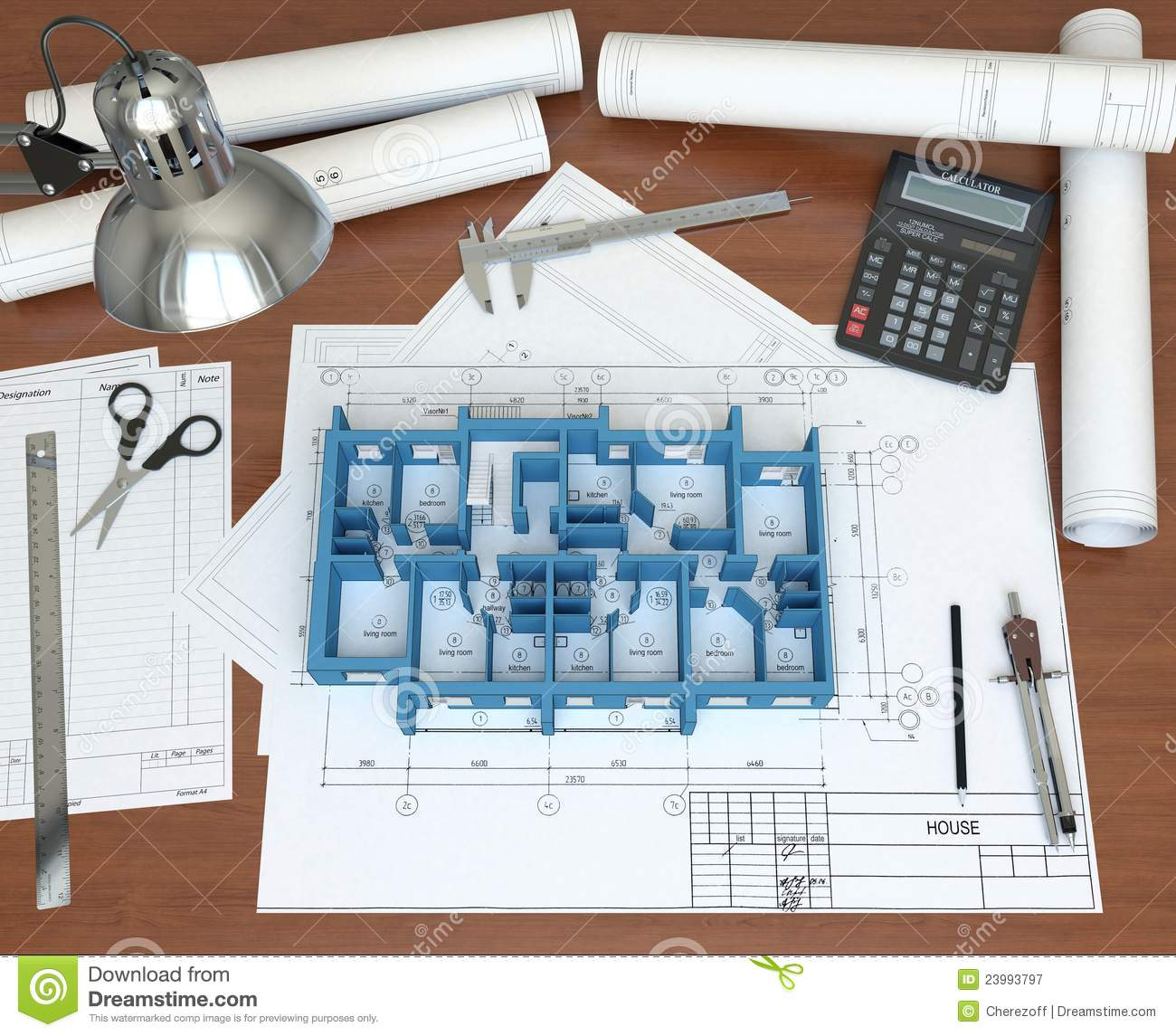 Architect Drawing Table With 3d Model Stock Image - Image: 8829171