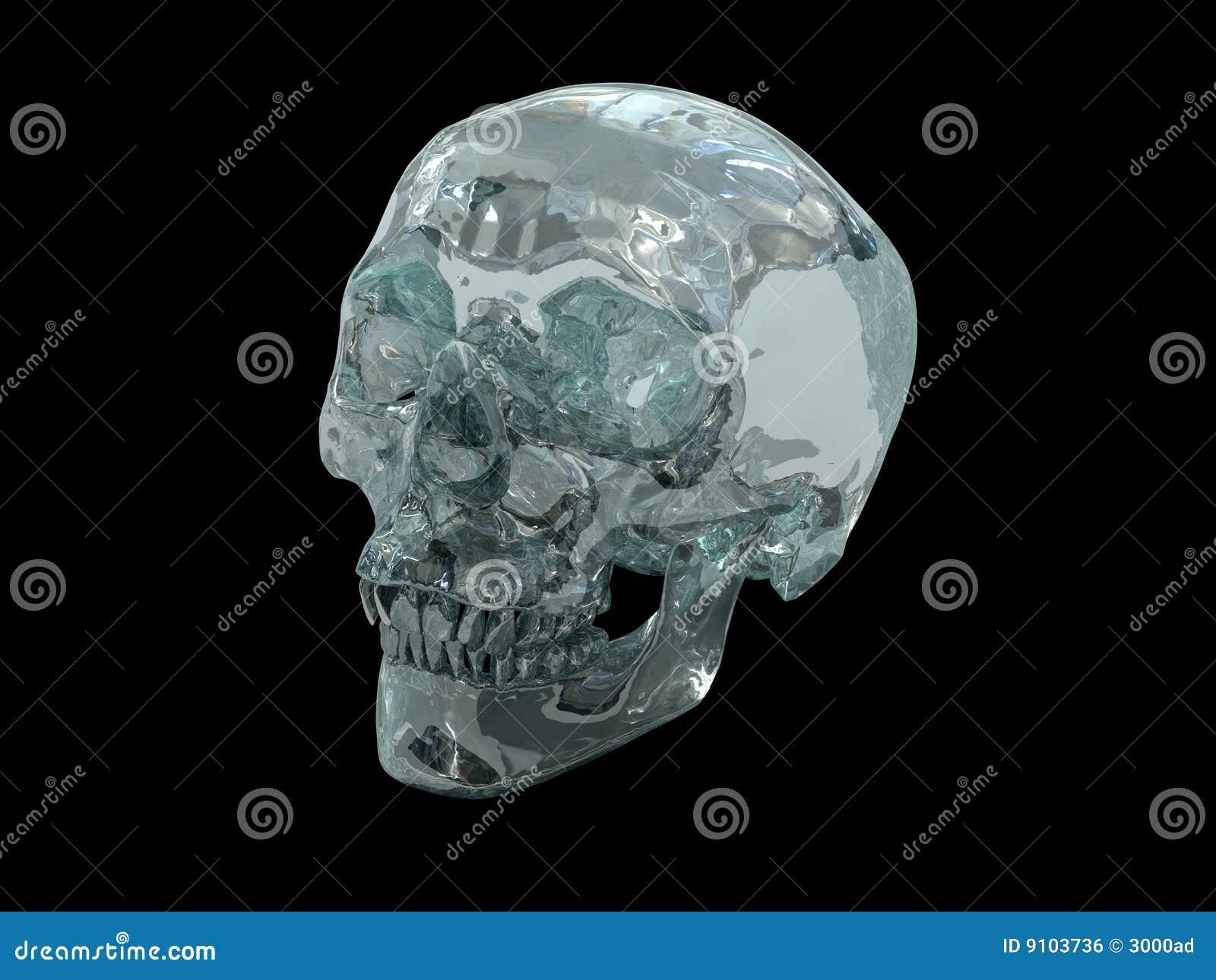 3D Model Of A Human Crystal Skull Stock Illustration