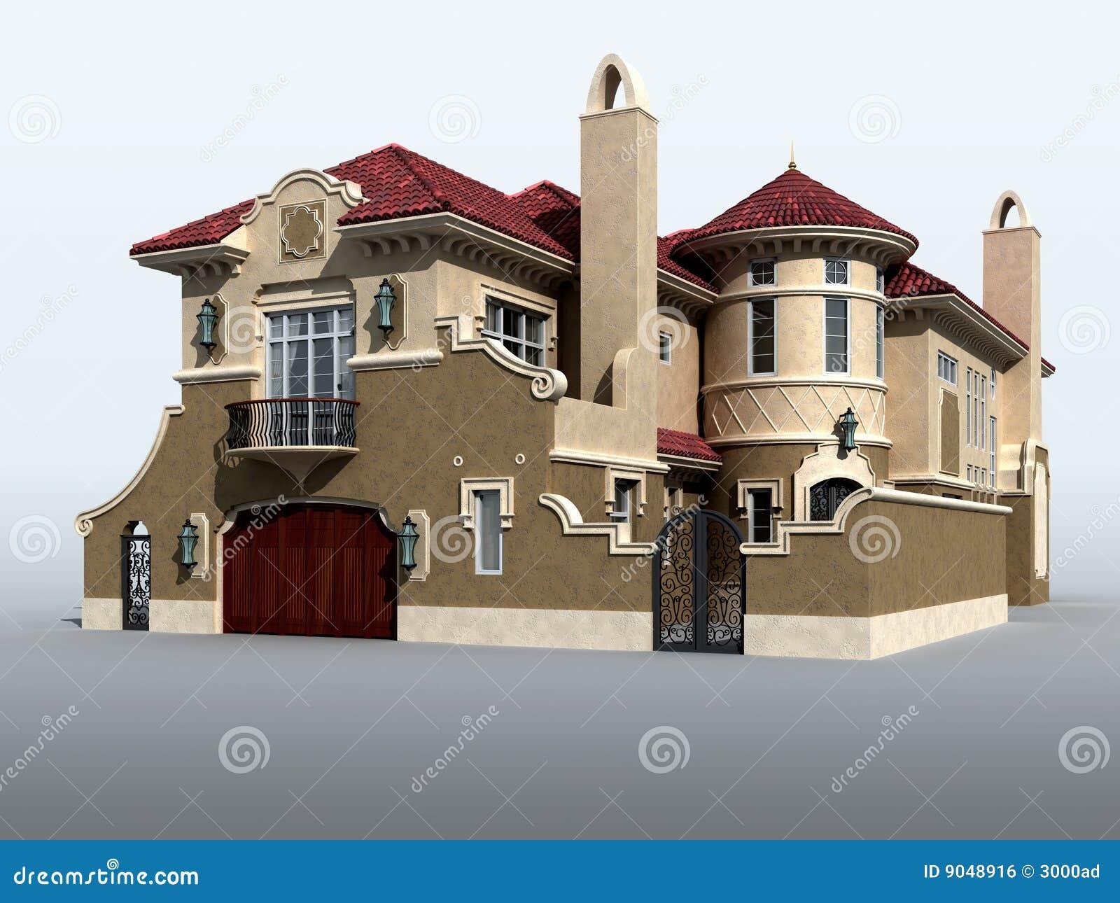 3D Model Of Luxury Italian Villa Royalty Free Stock Image