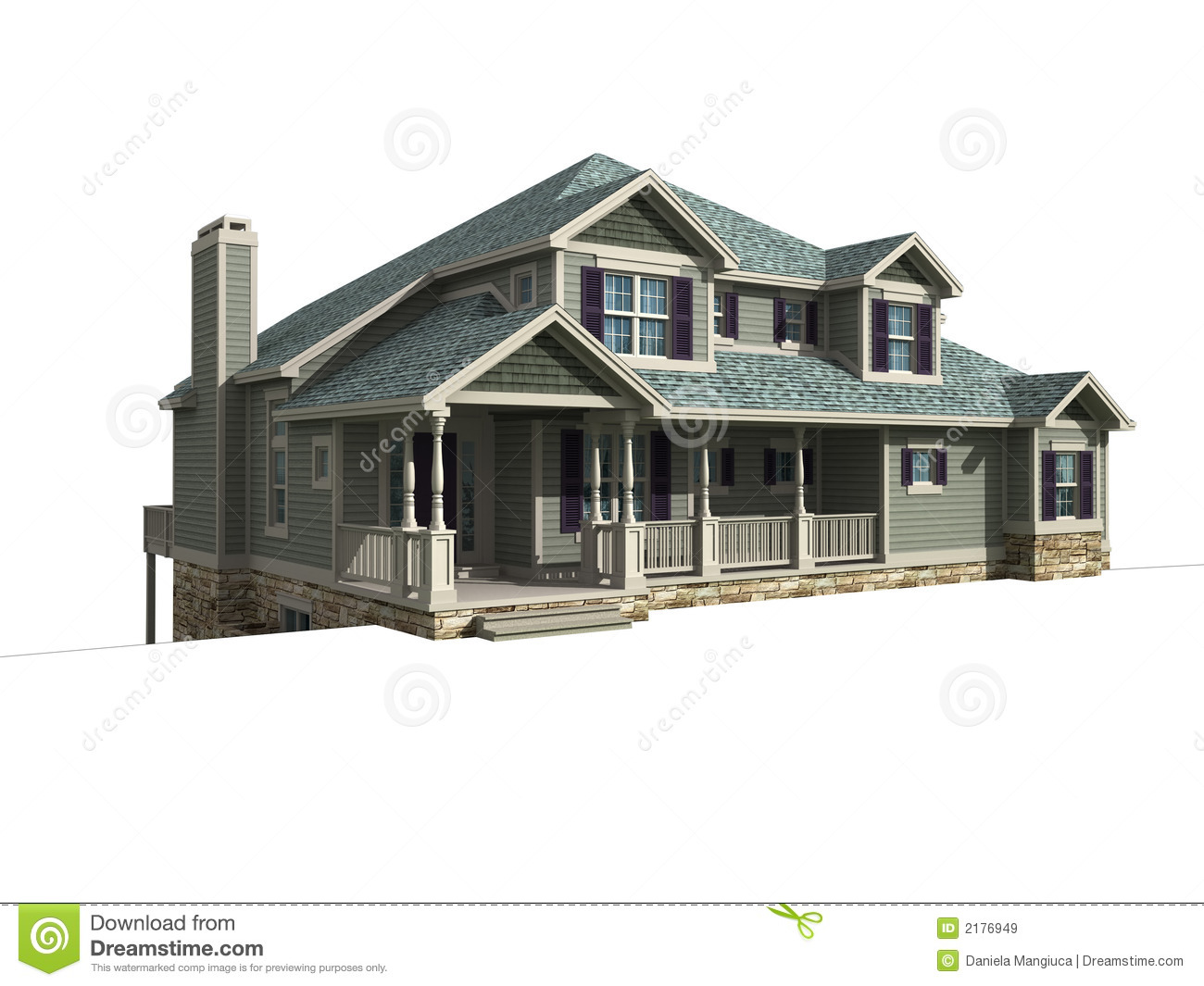 3d model of one level house royalty free stock images House 3d model
