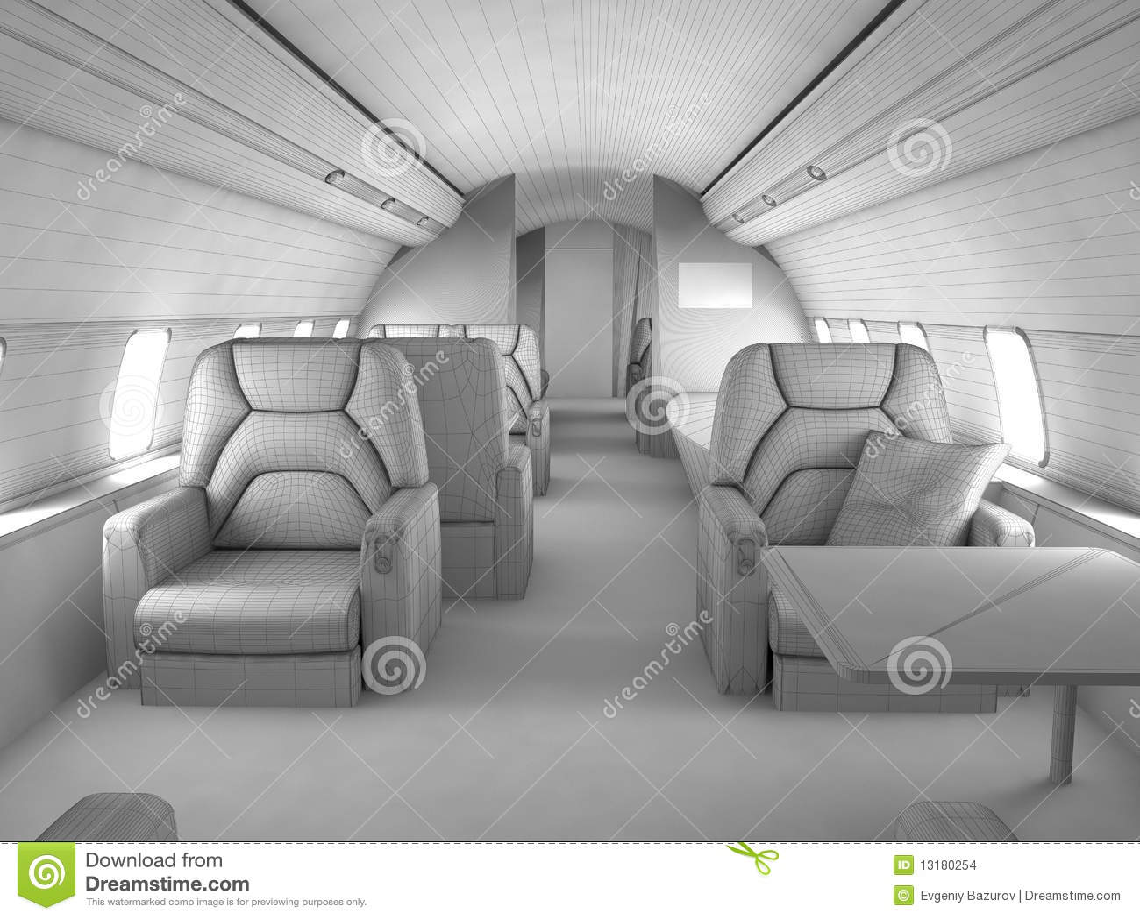 3d Model Private Plane Interior Stock Illustration Image