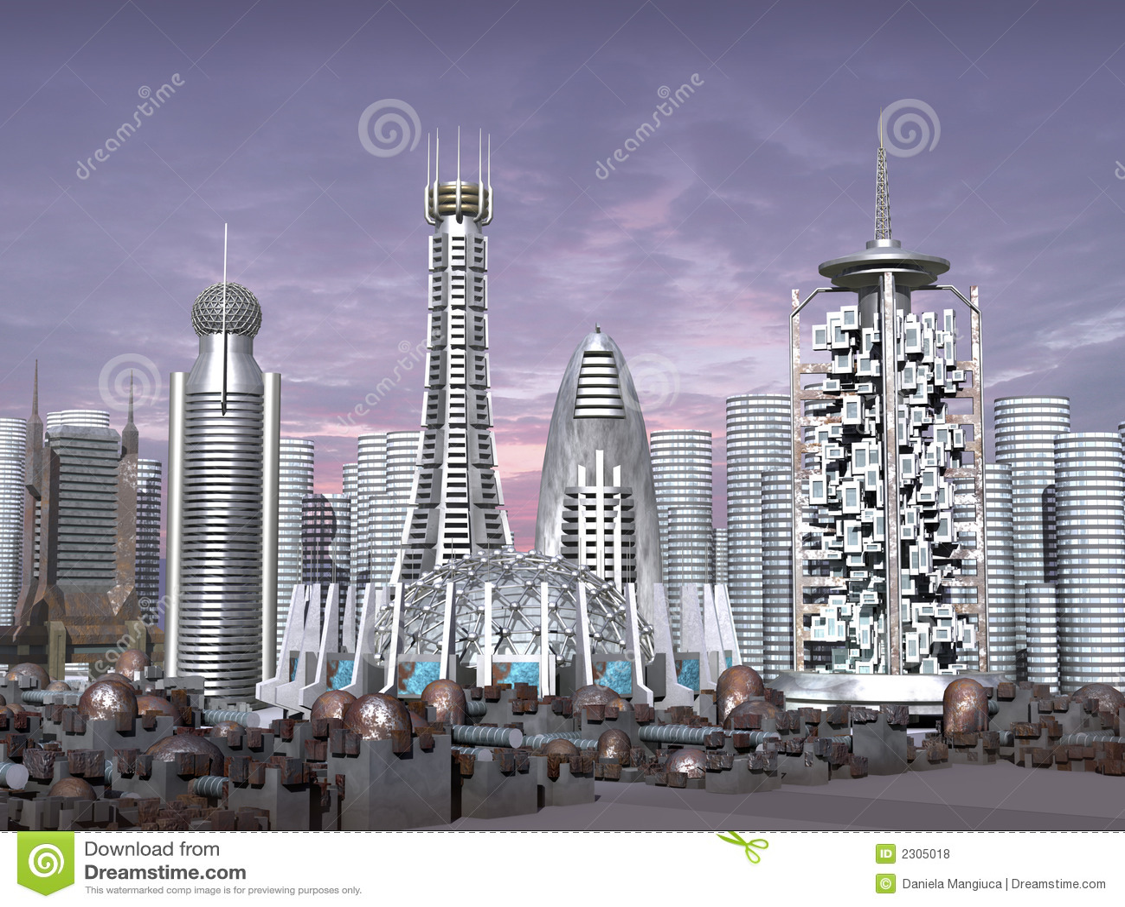 3d Model of Sci-fi city stock illustration  Illustration of