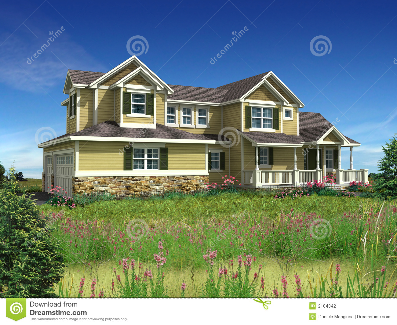 3d Model Of Two Level House Stock Photography Image 2104342