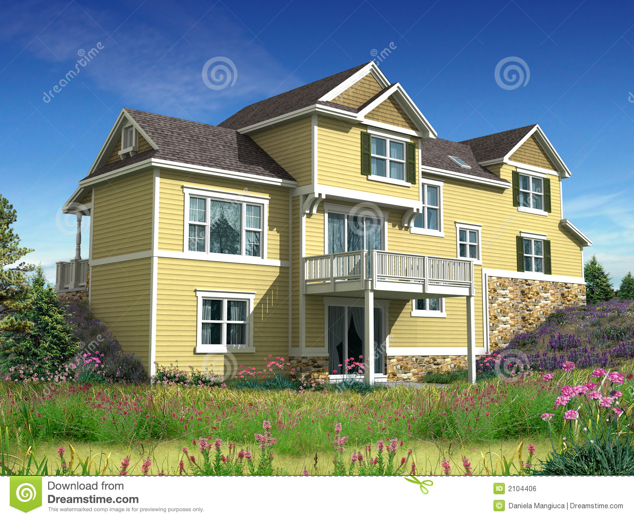 3d model of two level house stock illustration for Free 3d house models