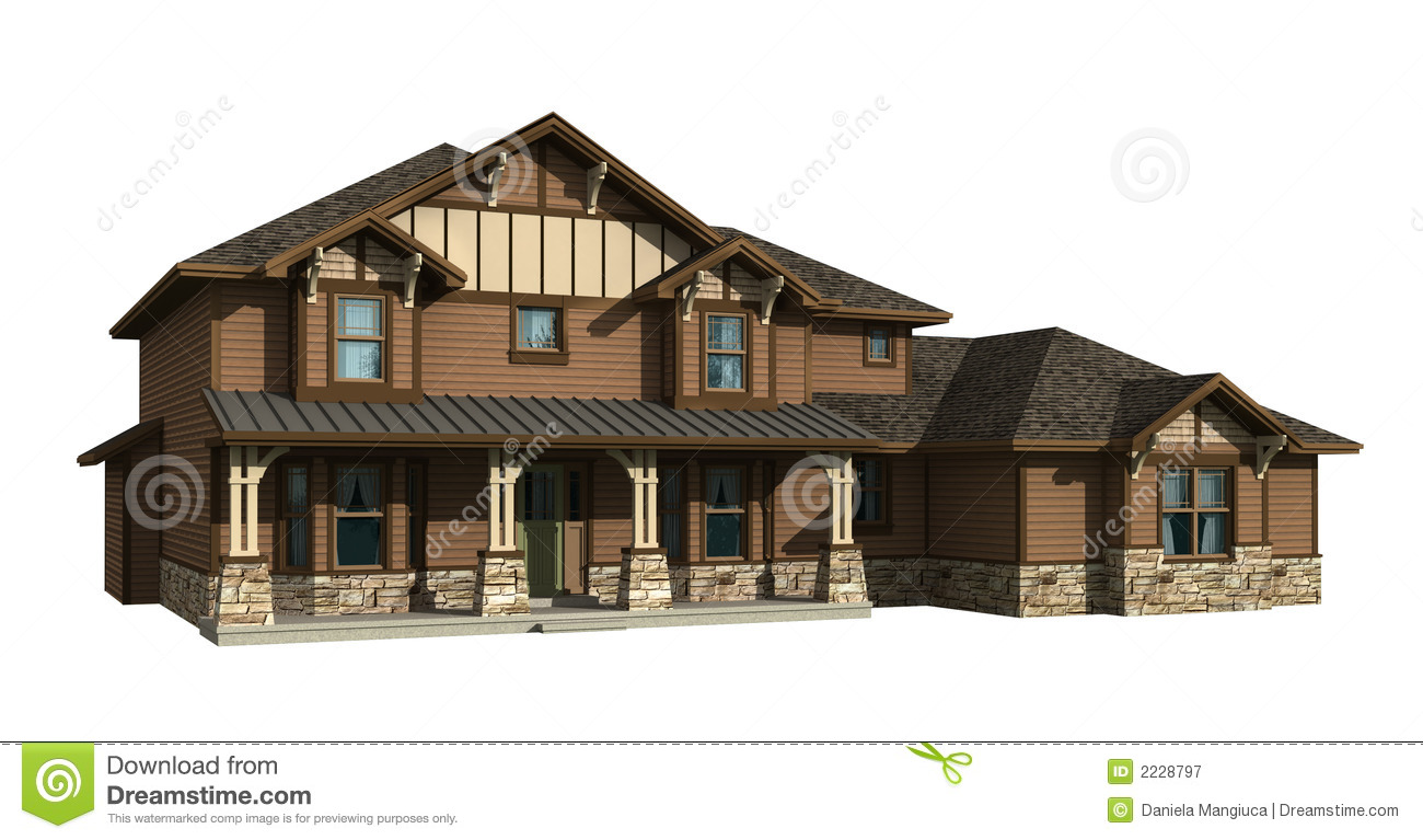 3d Model Of Two Level House Royalty Free Stock Photography