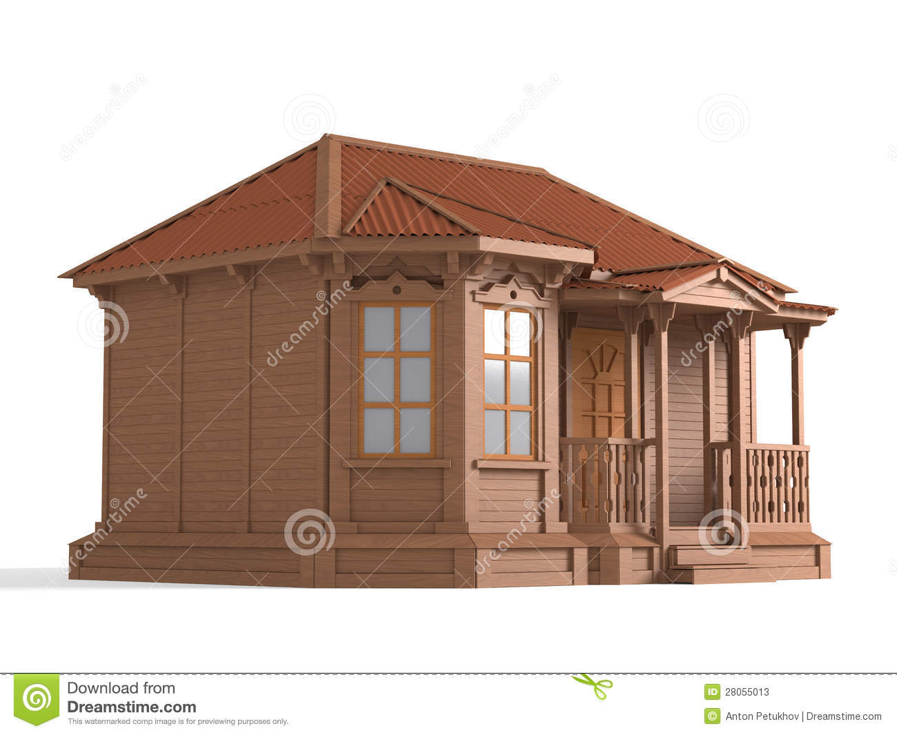 3d Model Of Wooden House Stock Illustration Image Of