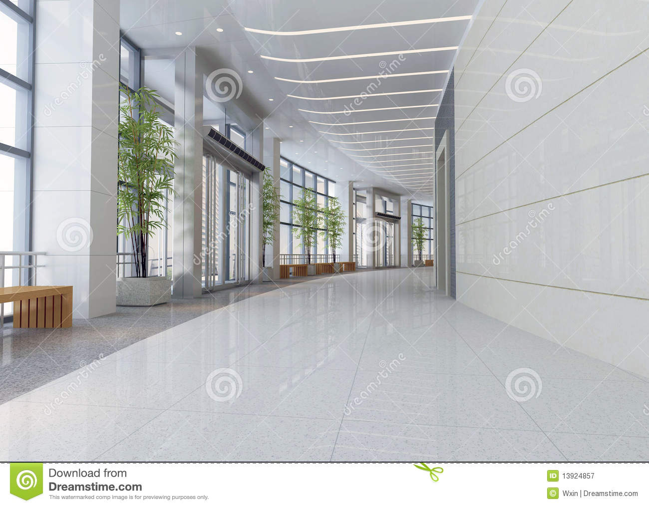 3d Modern Hall Corridor Royalty Free Stock Photography