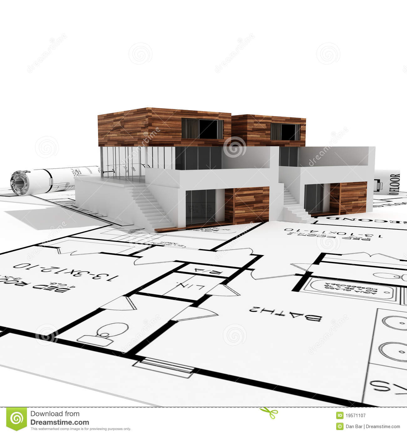 3d modern house and blueprints isolated on white stock for Modern mansion blueprints