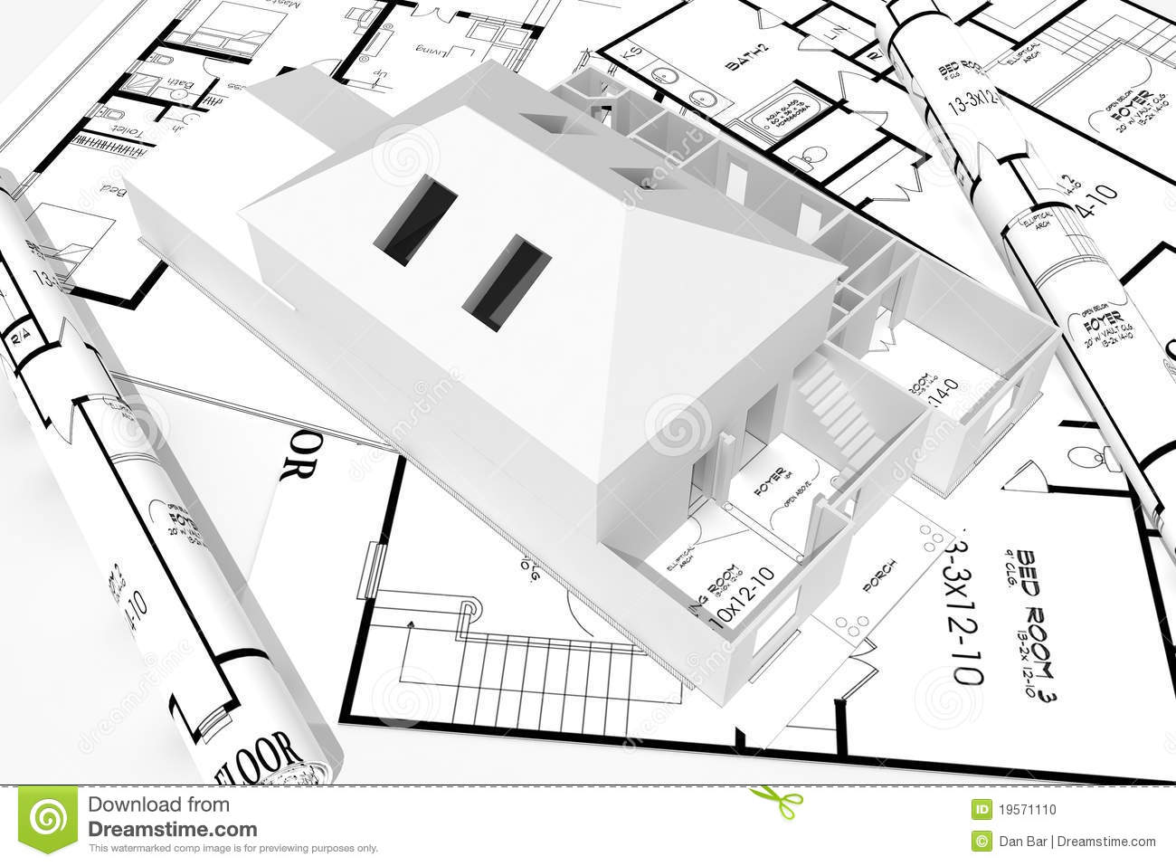 3d Modern House, nd Blueprints Isolated On White Stock Photo ... - ^