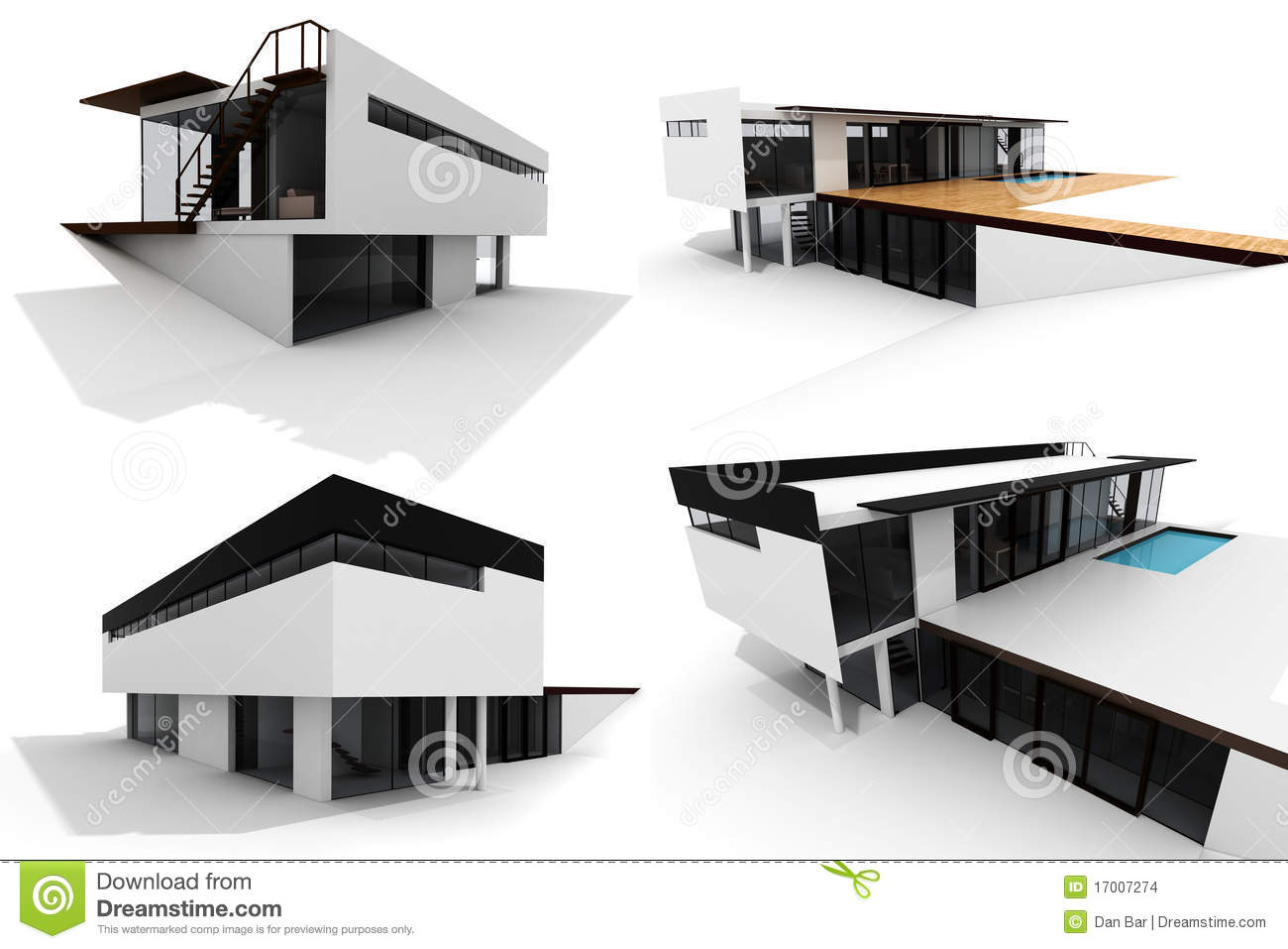 3d Modern House PACK Isolated On White