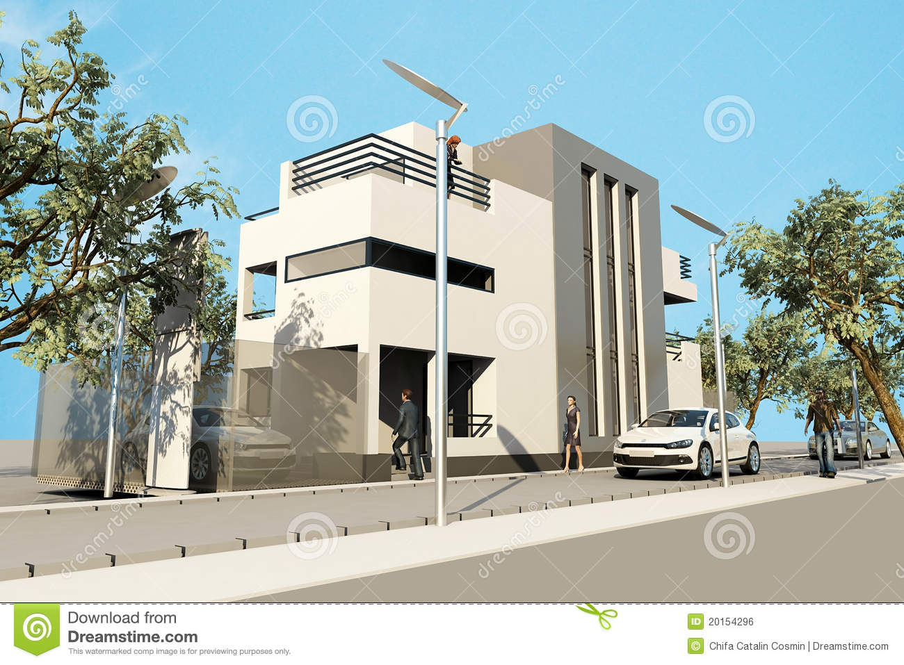 3d Modern House Render In 3ds Max On White Backg Royalty