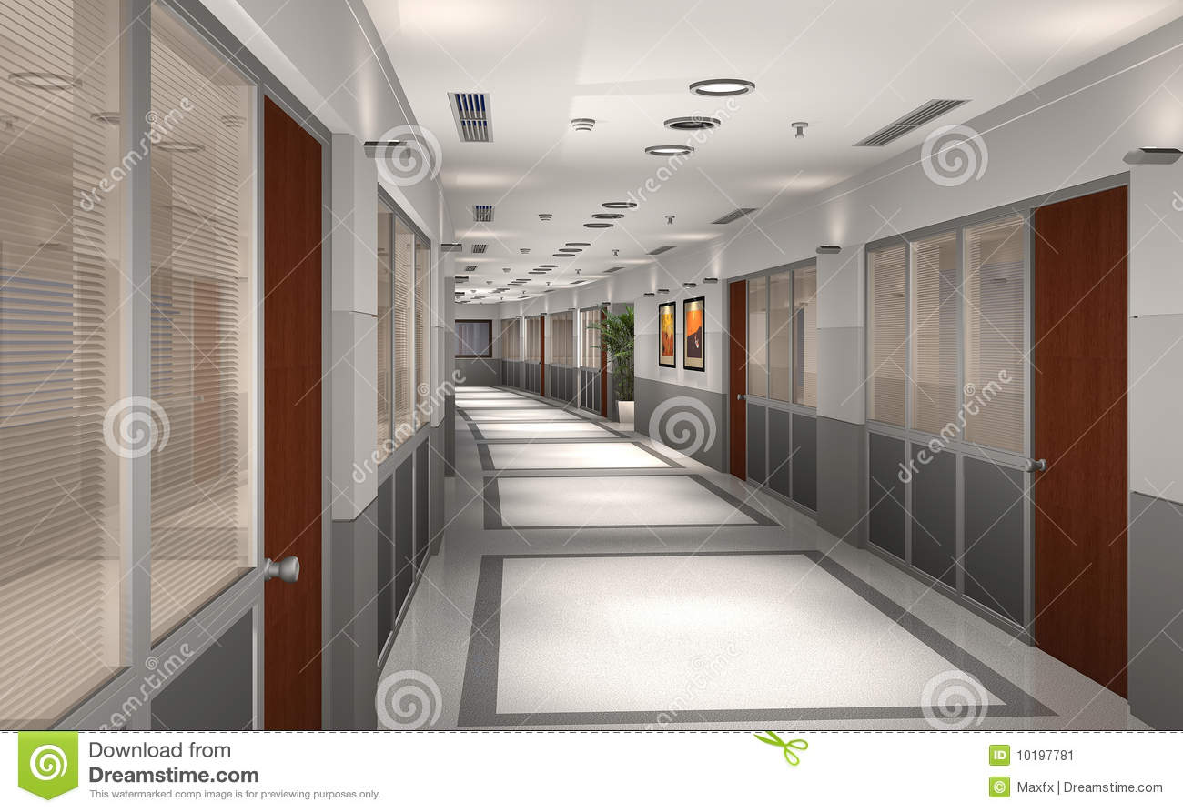 3d modern office hallway stock illustration image of interior