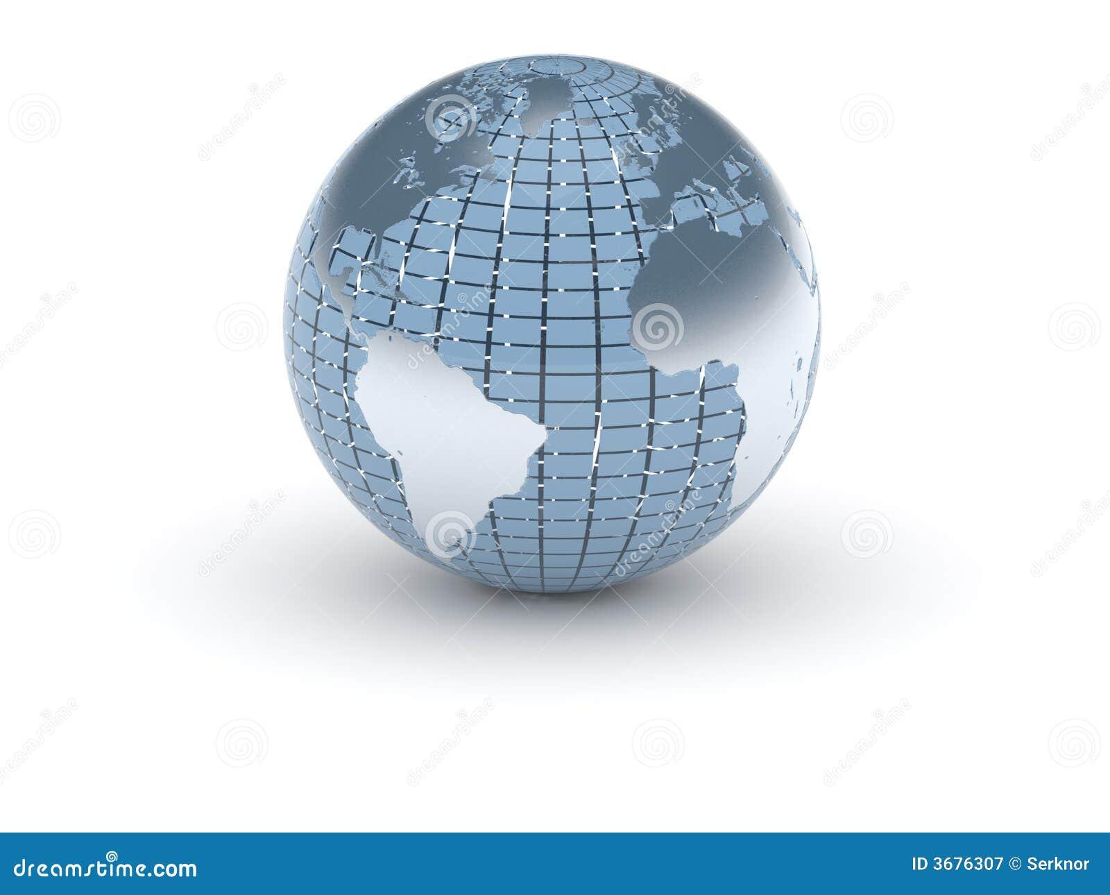 Download (3d) Mondo In Azzurro E Metallo Illustrazione di Stock - Illustrazione di america, terra: 3676307