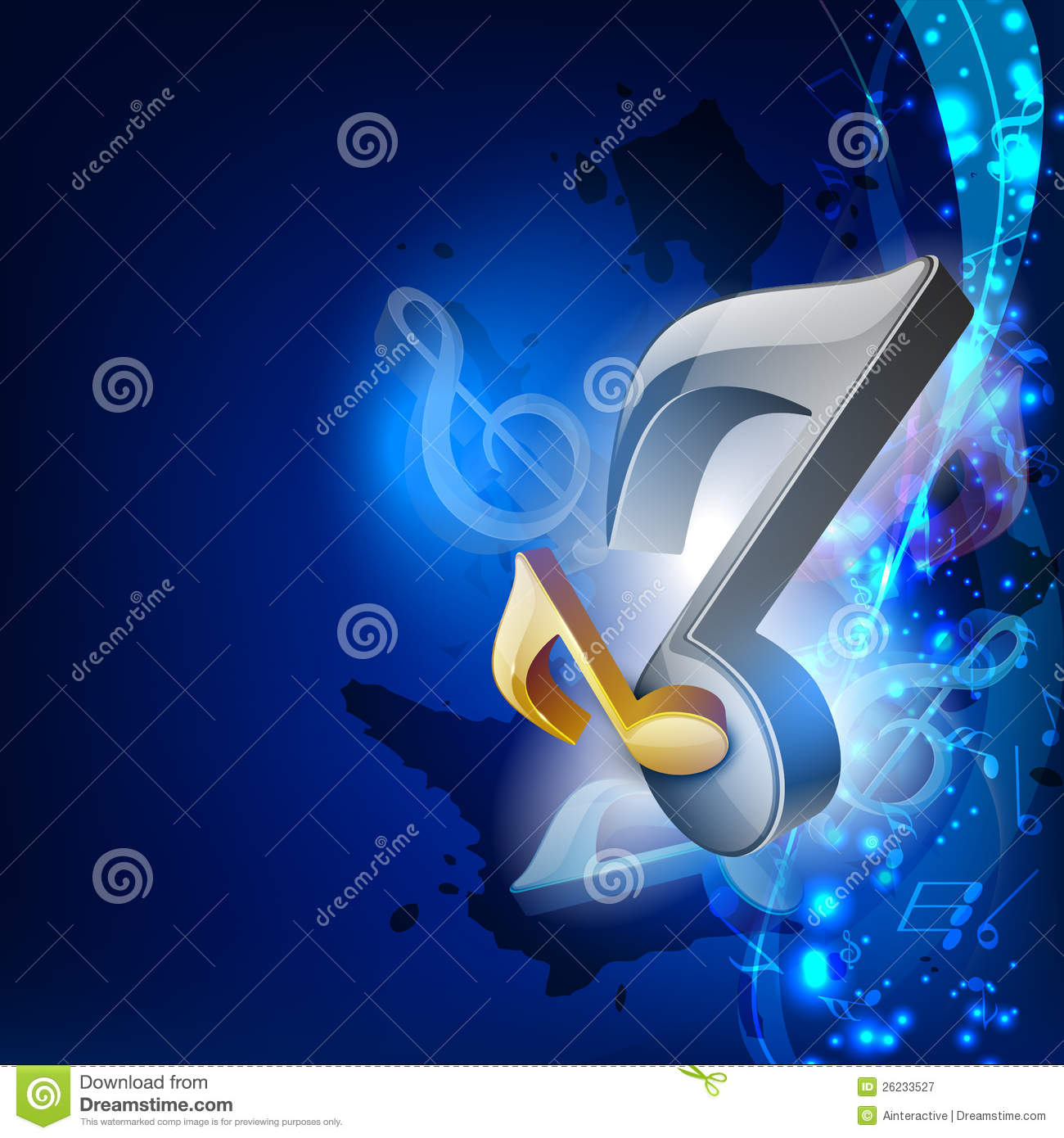 3D Music Notes On Blue Wave Background