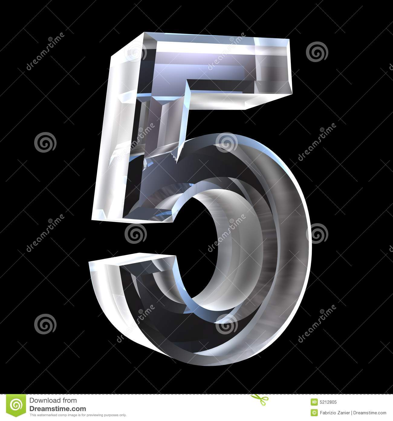 3d number 5 in glass royalty free stock photo