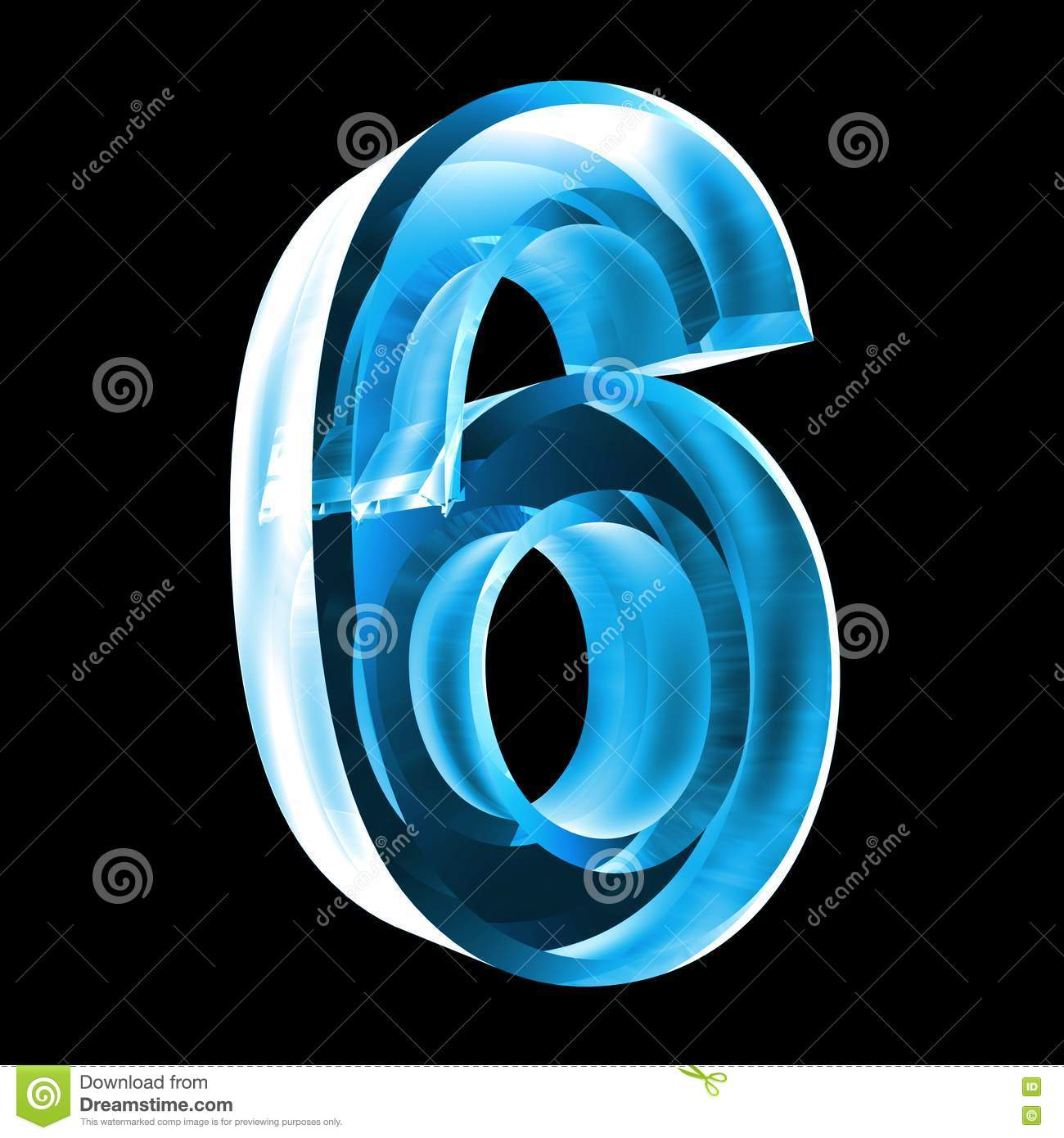 3d Number 6 In Blue Glass Stock Image - Image: 6205631