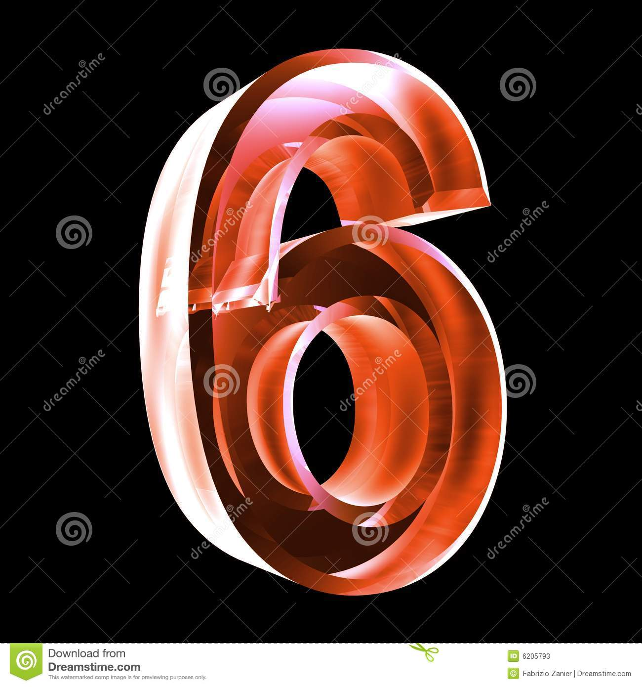 3d number 6 in red glass stock illustration  image of