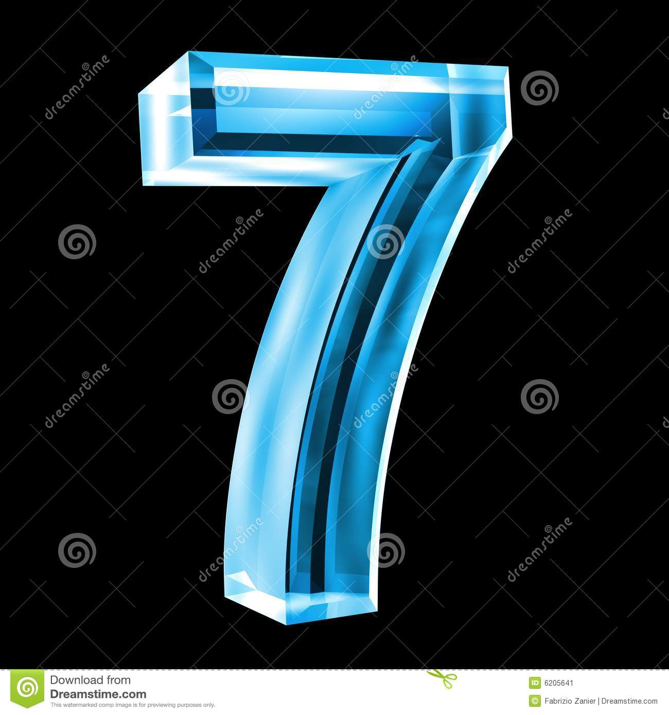 3d Number 7 In Blue Glass Stock Image - Image: 6205641