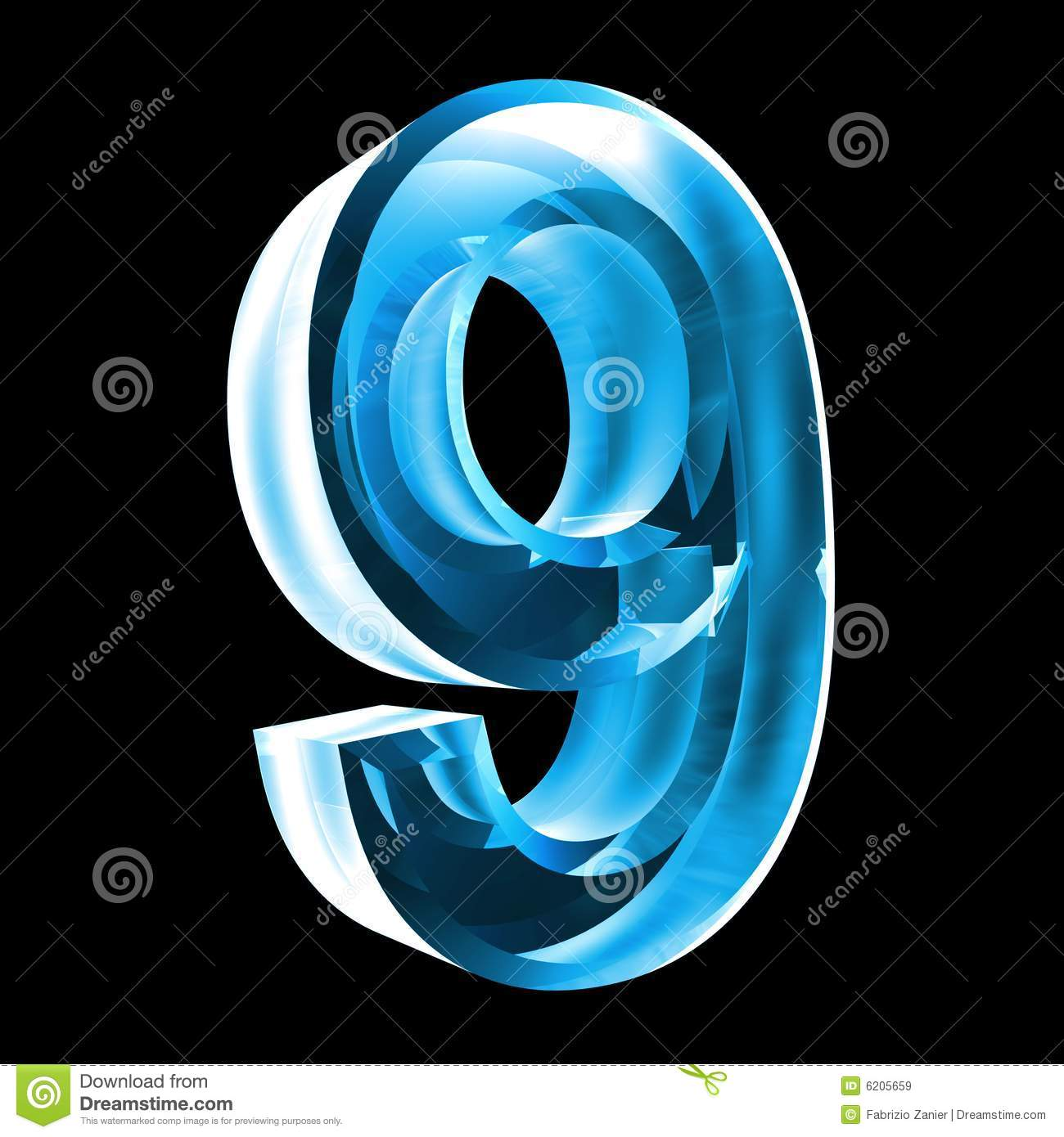 3d number 9 in blue glass stock illustration  illustration of fiery