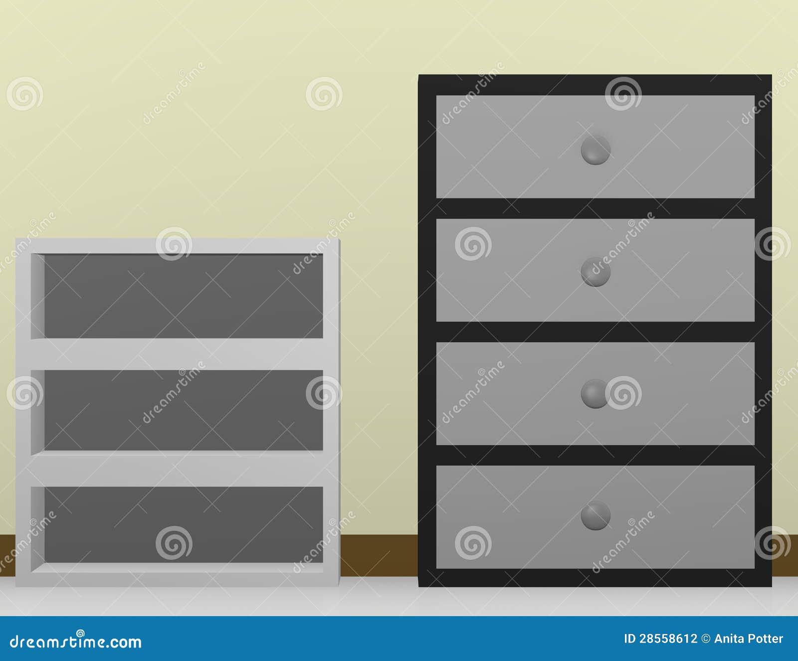 3d Odpłacają się półka na książki i Dresser