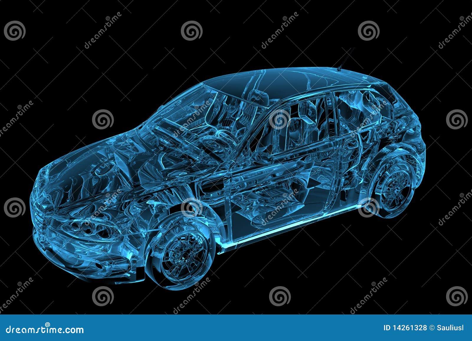 3d odpłacający się błękitny samochód xray