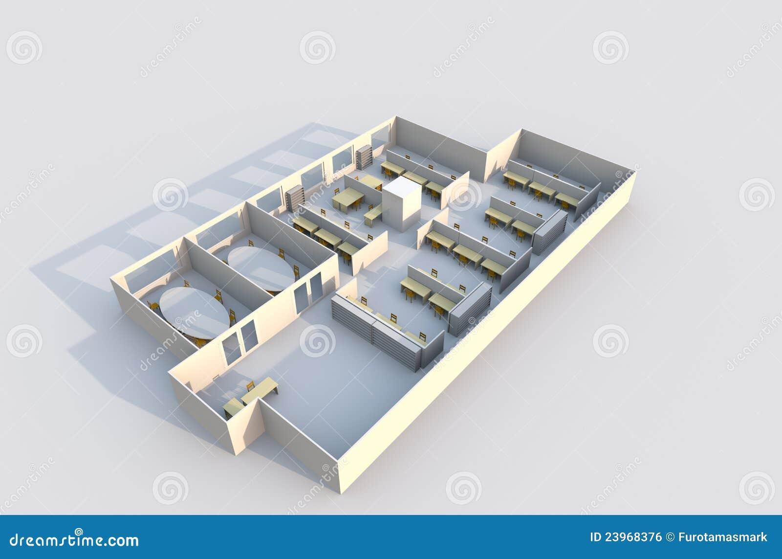 3d office plan royalty free stock image image 23968376 - Creation de maison virtuelle gratuit ...
