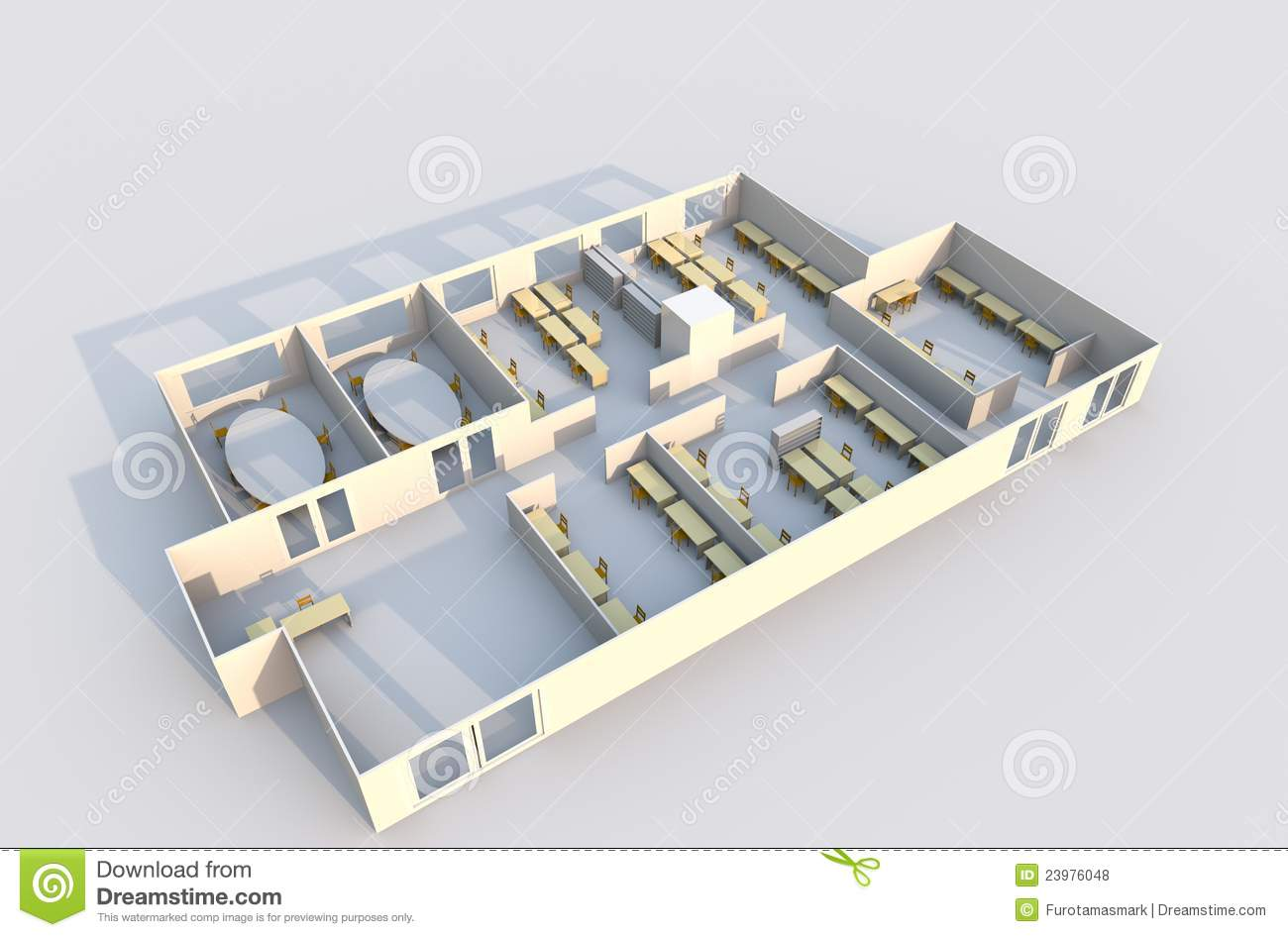 3d office plan stock illustration illustration of for Office planner online