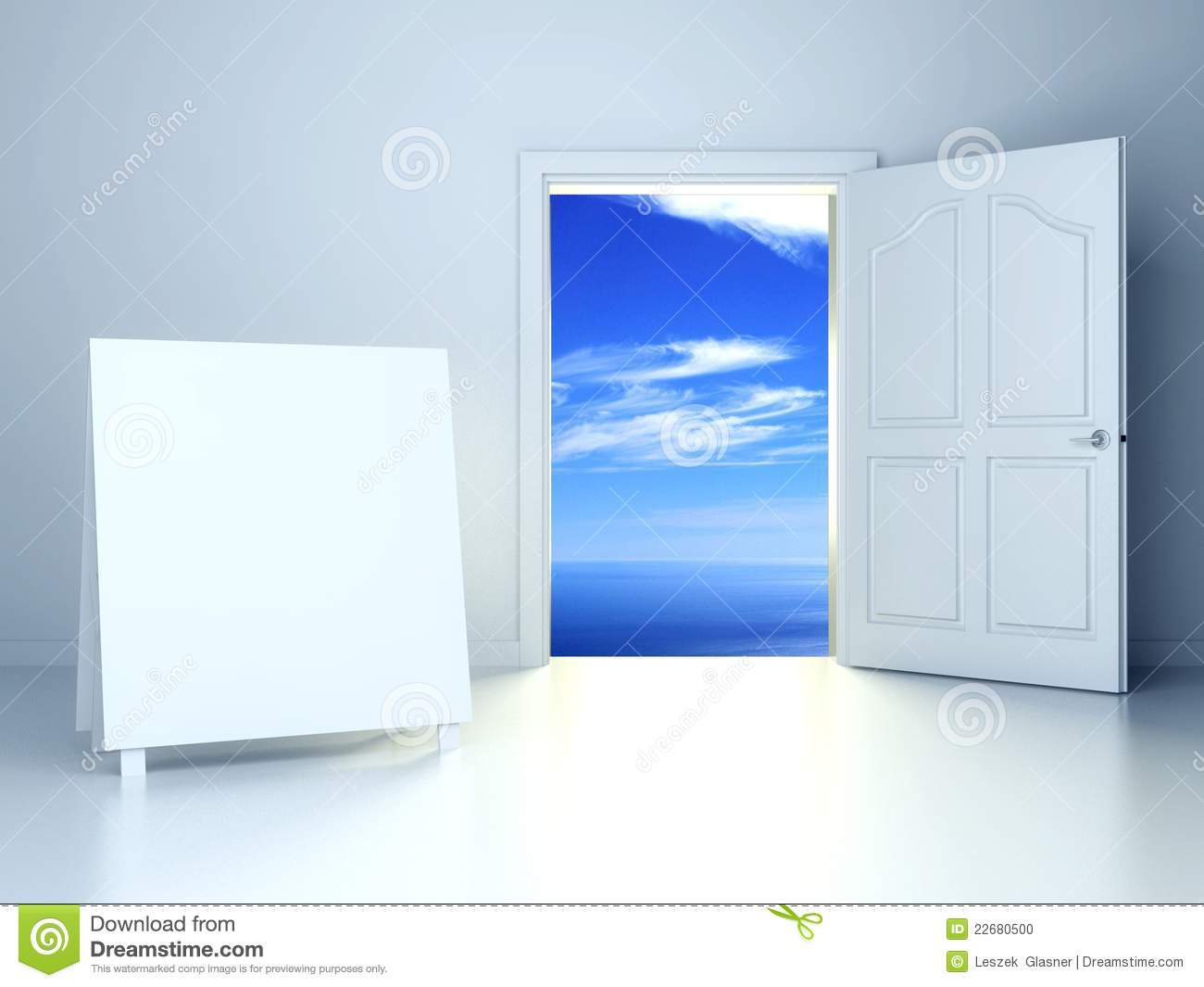 3d Open Door In Empty Room With Empty Frame Stock