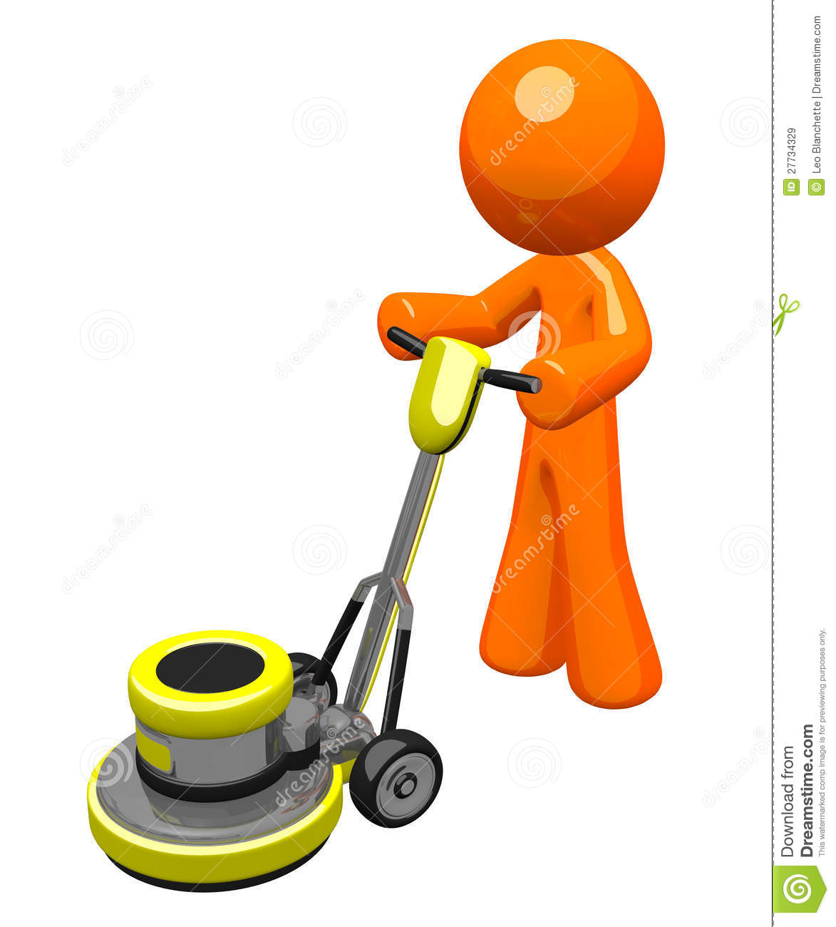 3d Orange Man With Floor Buffer Royalty Free Stock Images ...