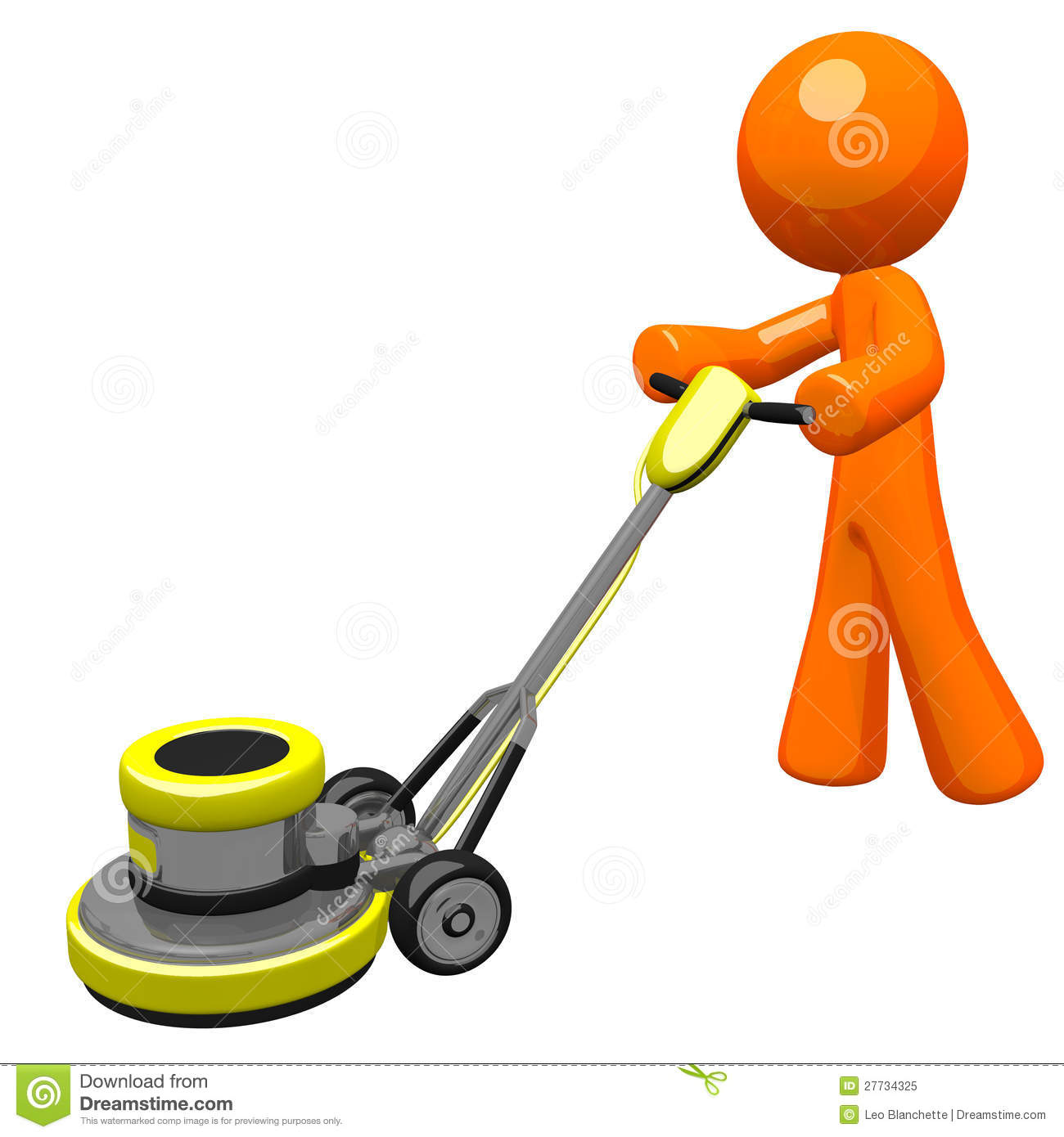 3d Orange Man With Floor Scrubber Royalty Free Stock Photo