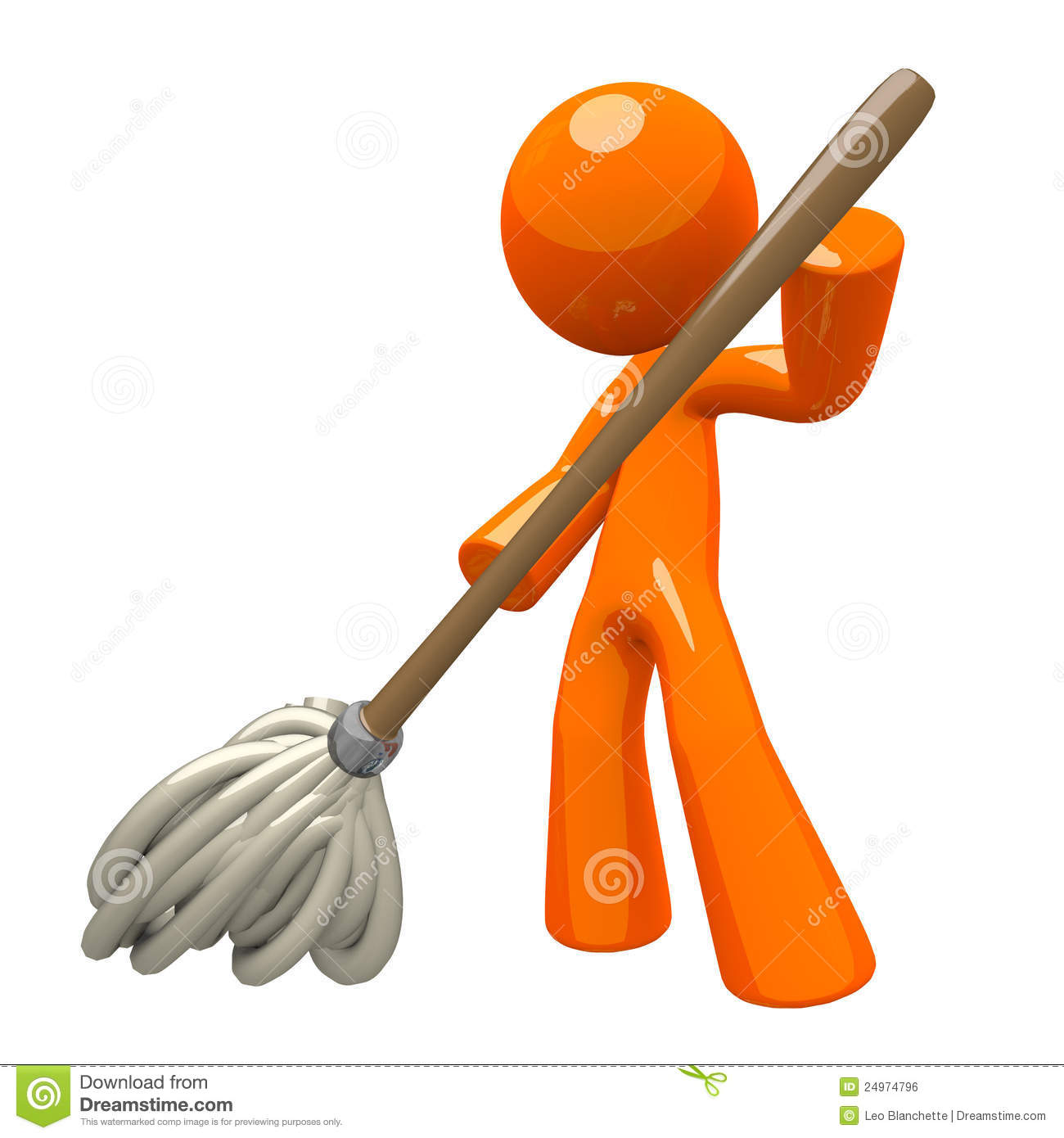 3d Orange Man Mopping Royalty Free Stock Image - Image: 24974796