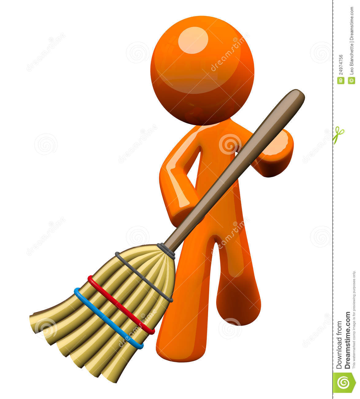 An orange man with a stylized broom, sweeping and cleaning up. Great ...