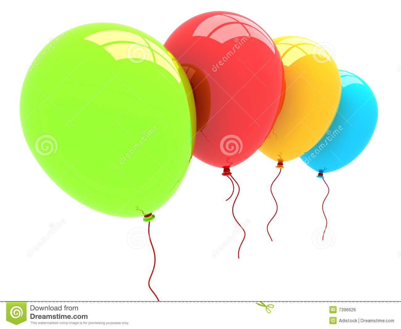 3D Party Balloons Royalty Free Stock Image - Image: 7396626