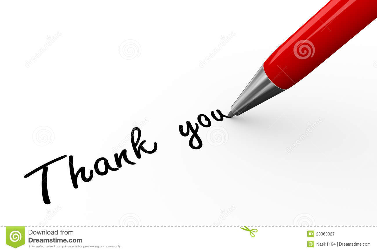 3d render of a pen writing thanks you on white paper background.