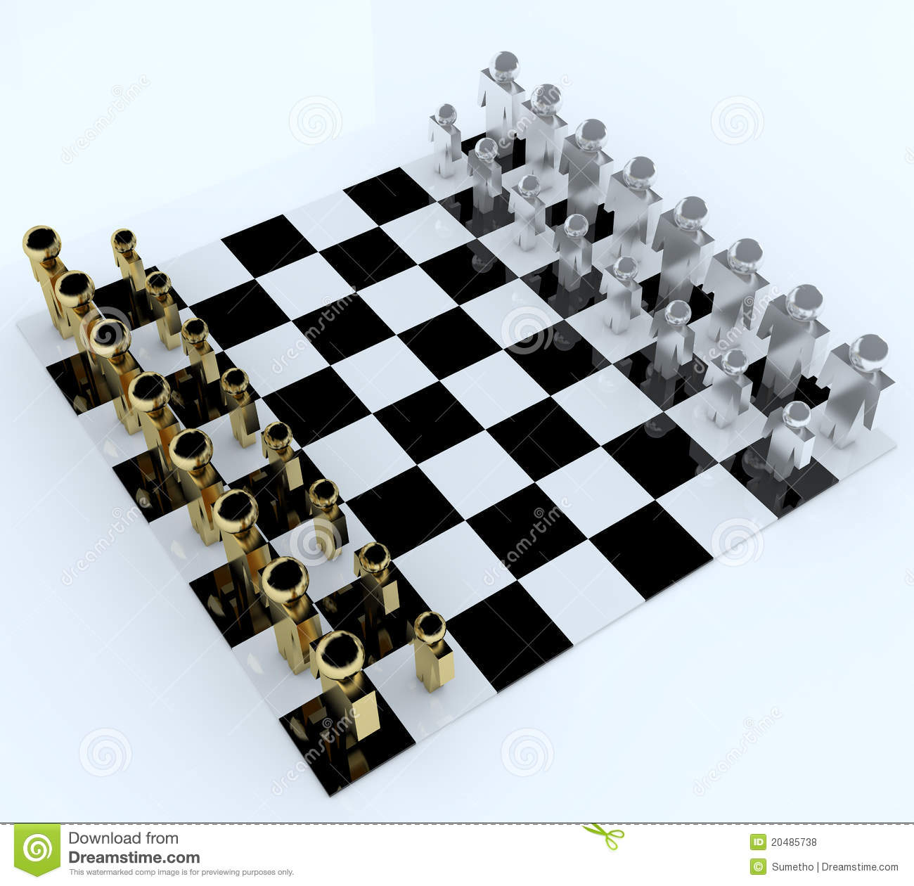 3d People In Chess Board Stock Illustration. Image Of