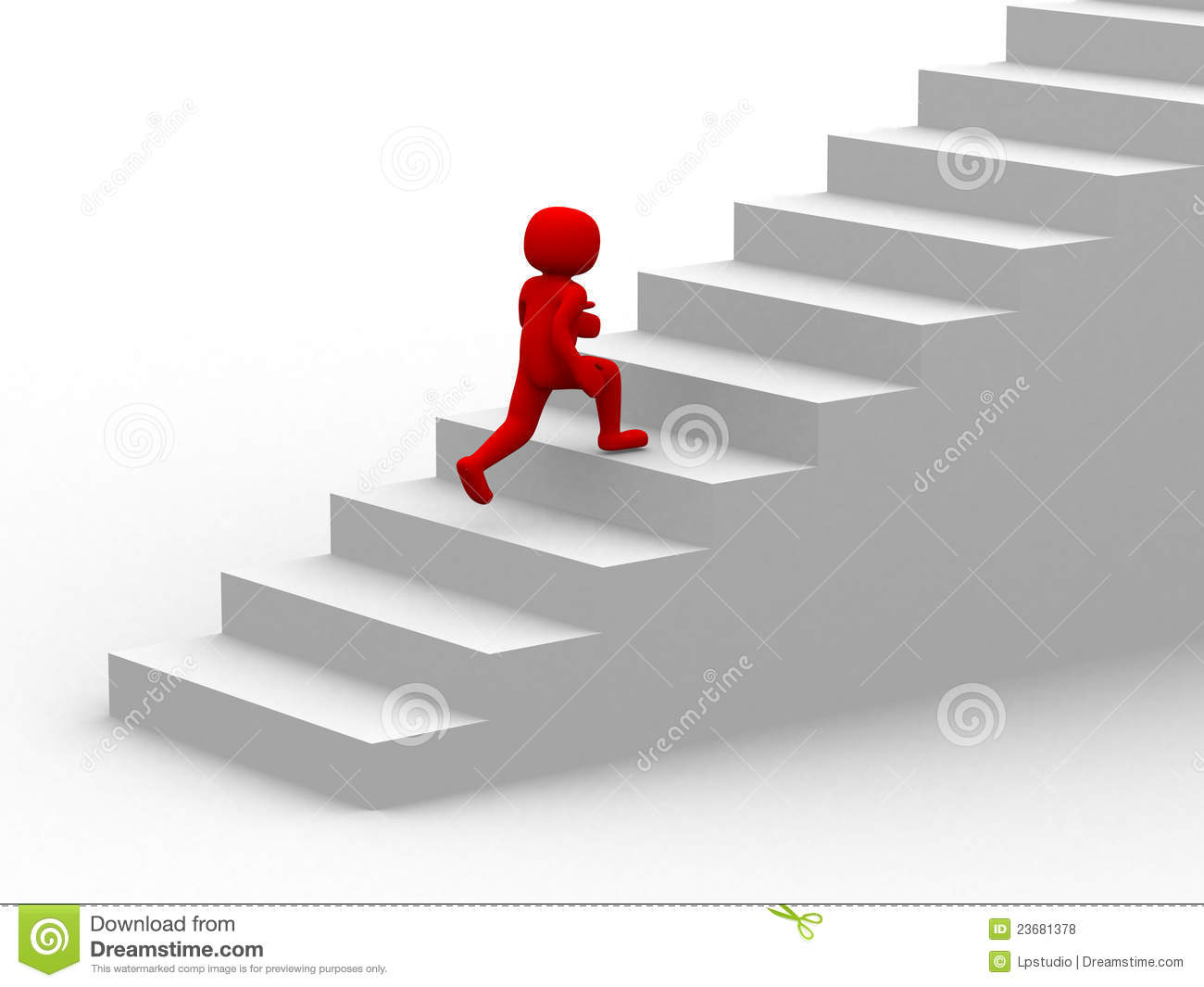 3d People Climb The Staircase Stair Royalty Free Stock