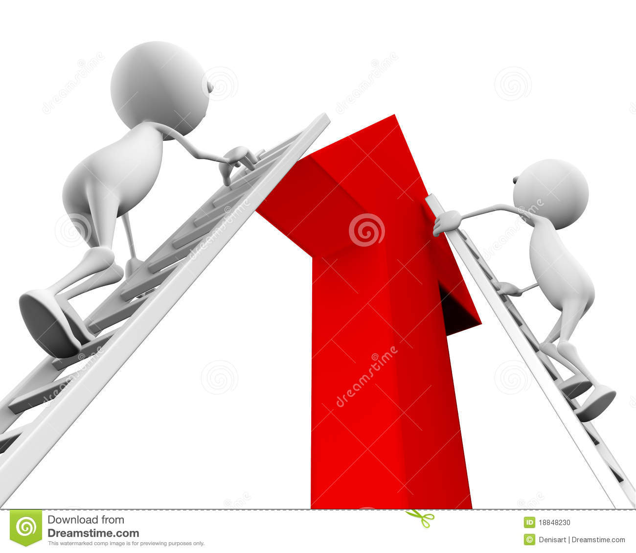 3d People Climb Up The Ladder On The Arrow Stock Photo
