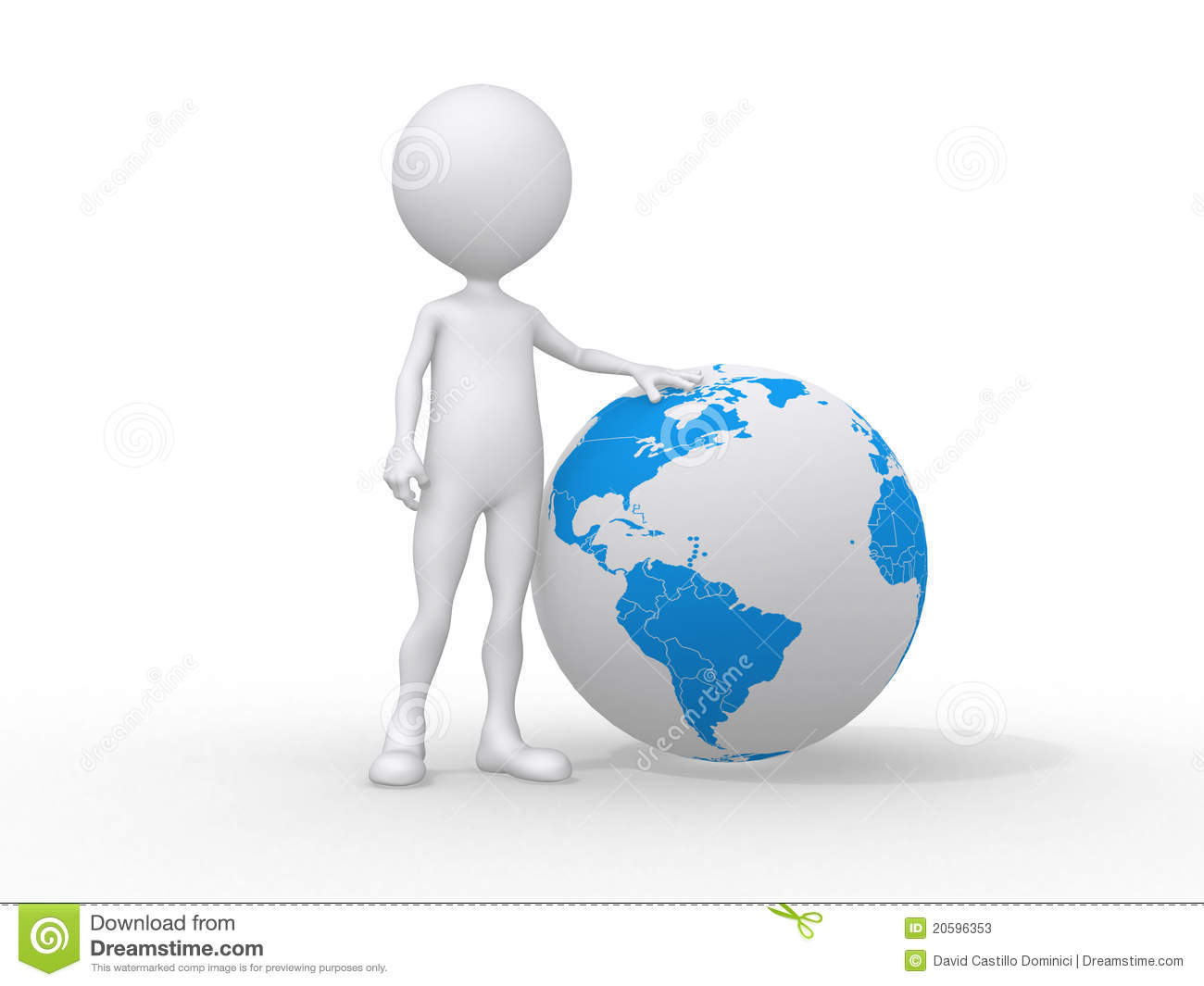 3d People Icon And The Earth Globe Stock Illustration ...