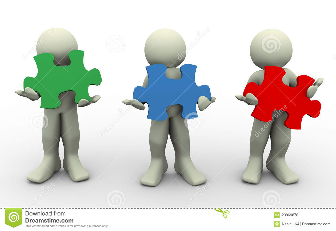 3d people with puzzle pieces royalty free stock photos image