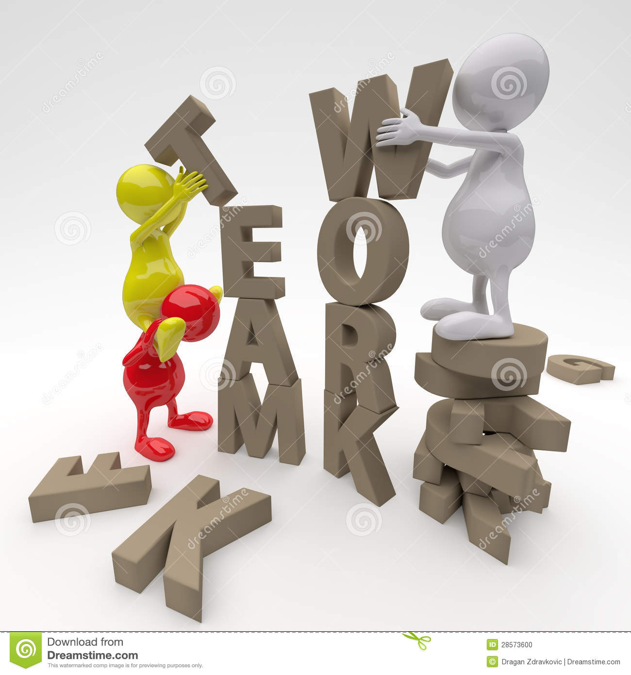 3D People Working On Teamwork Word Stock Photo - Image: 28573600