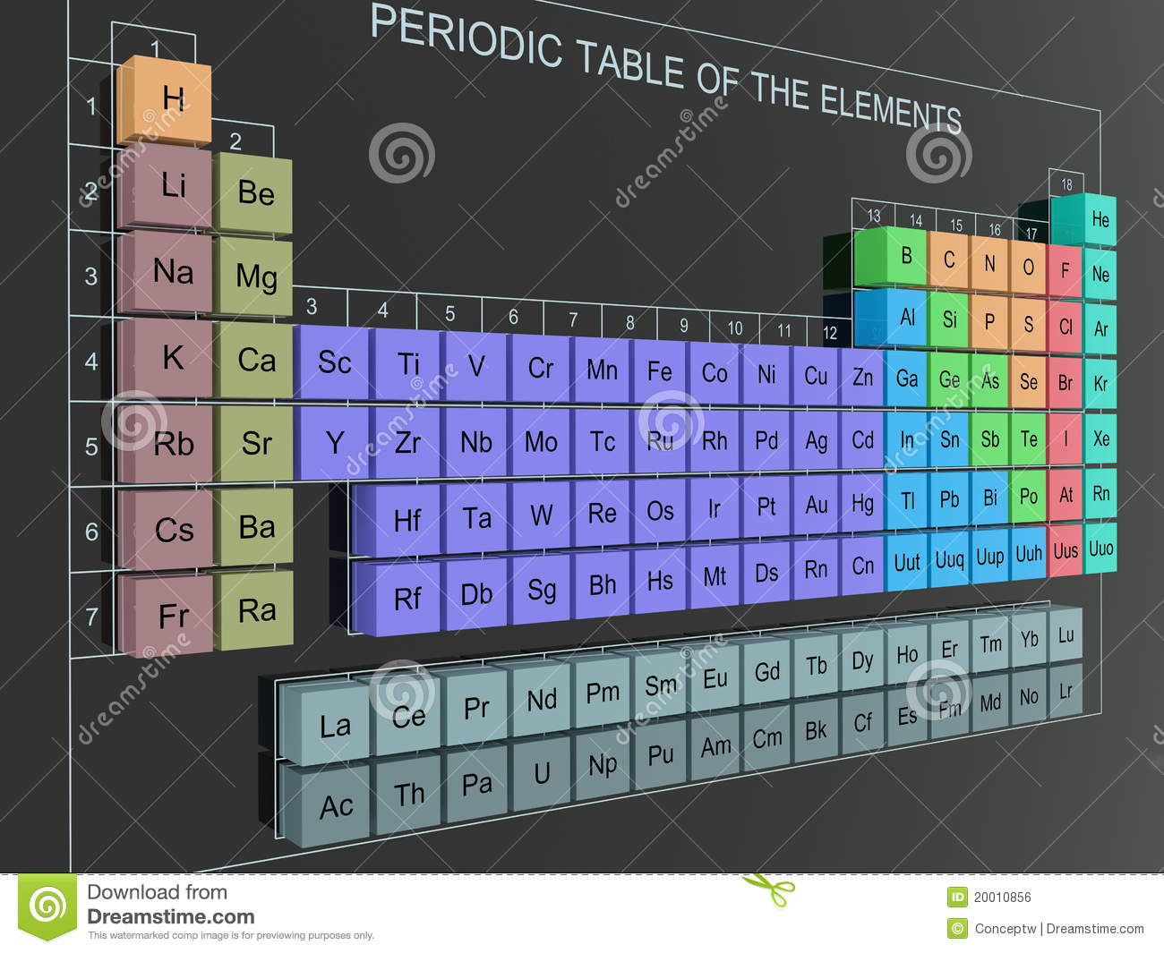 3D Periodic Table stock illustration. Image of black ...
