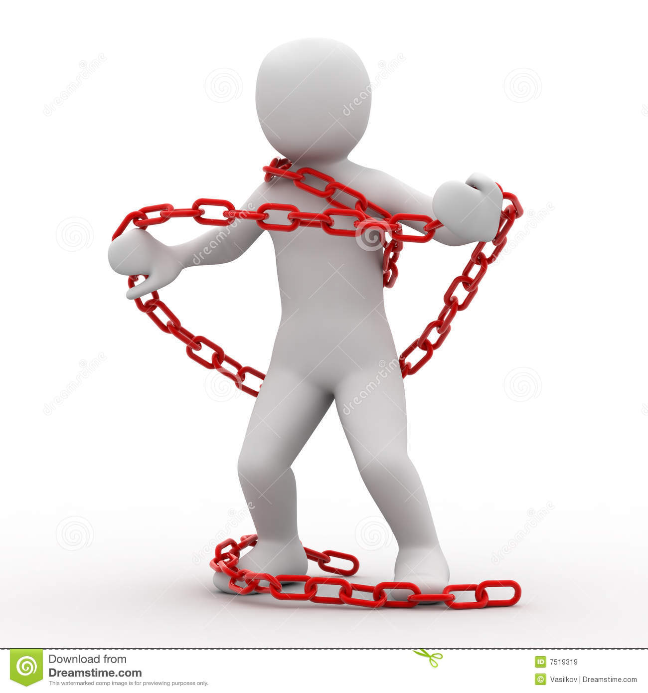 3d Person And Chain Royalty Free Stock Images - Image: 7519319