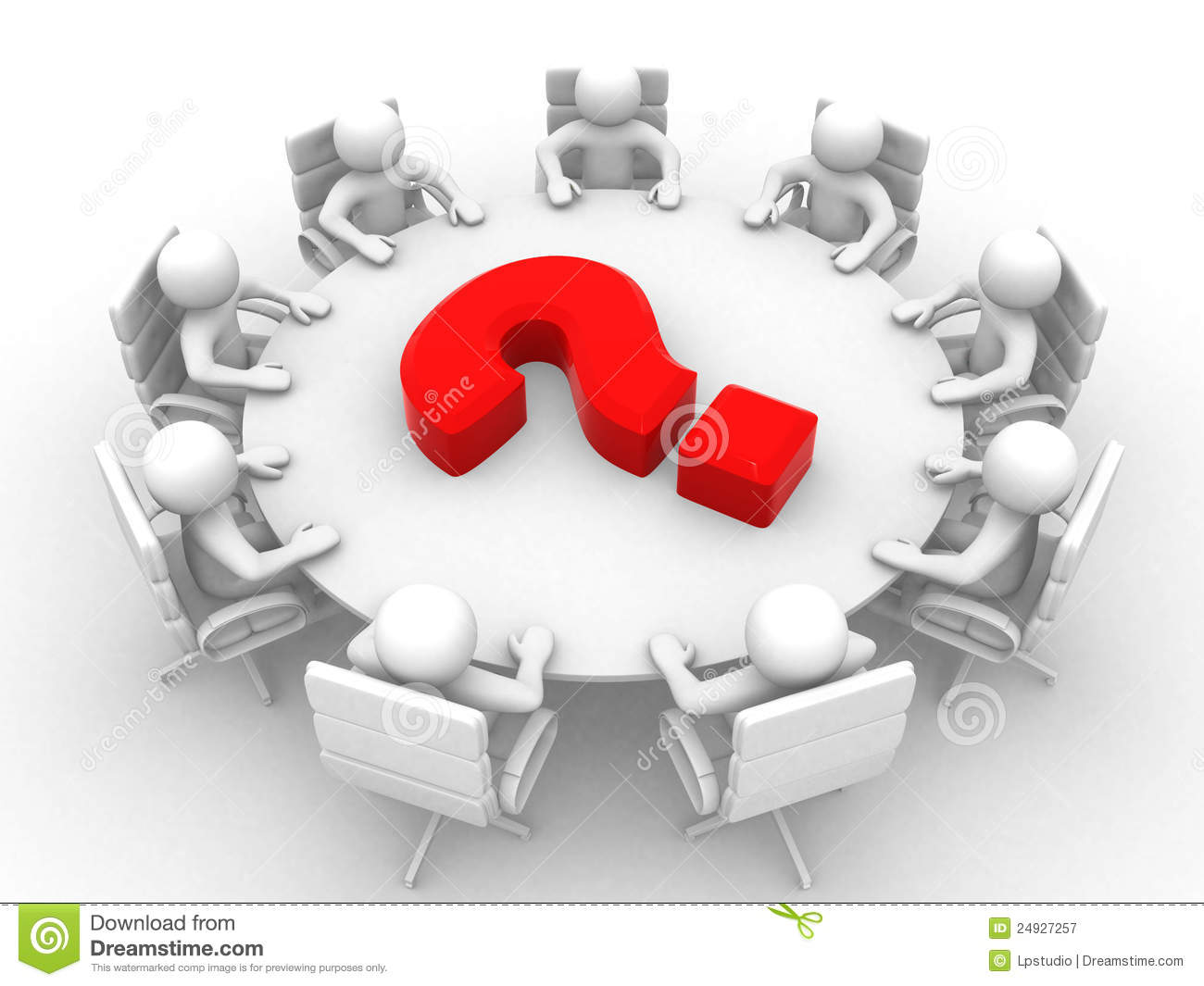 3d Person At Conference Table And Question Mark Stock