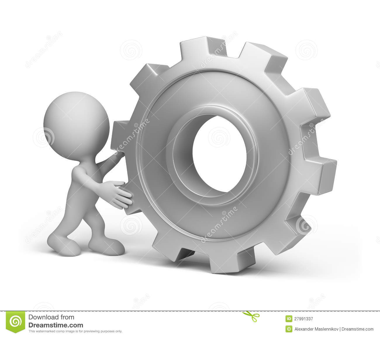 3d Person With A Gear Wheel Royalty Free Stock Photography ...