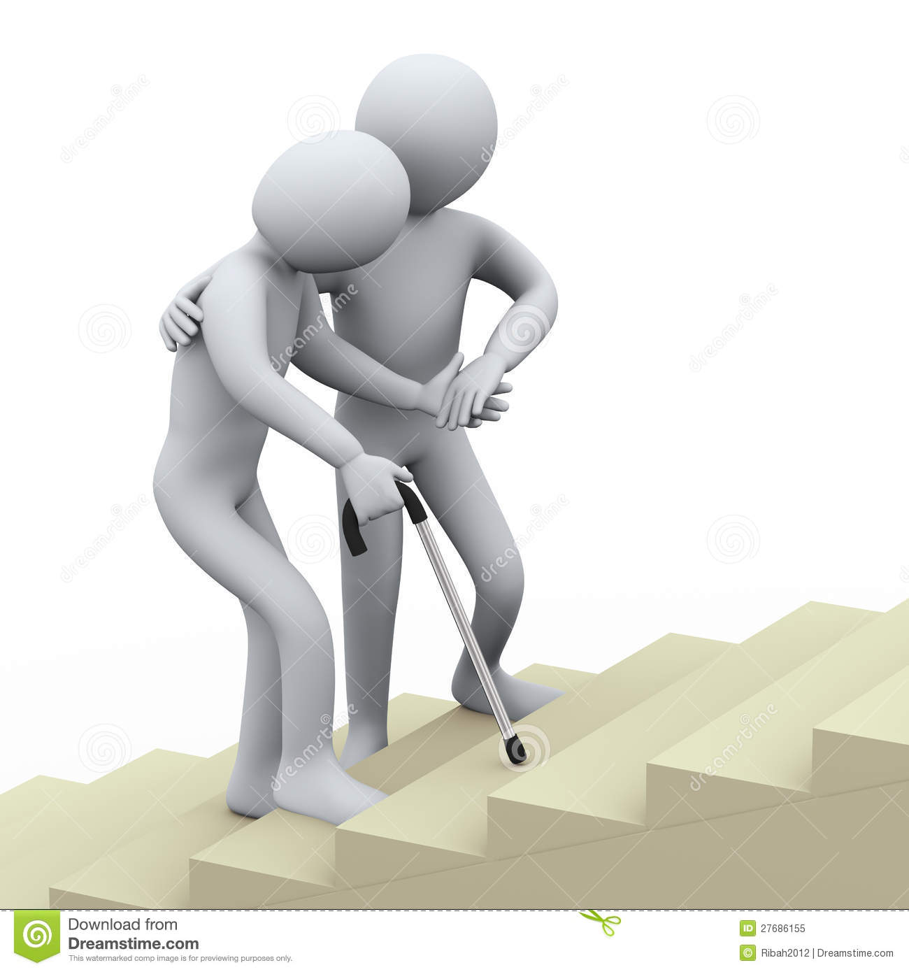 3d person helping old man