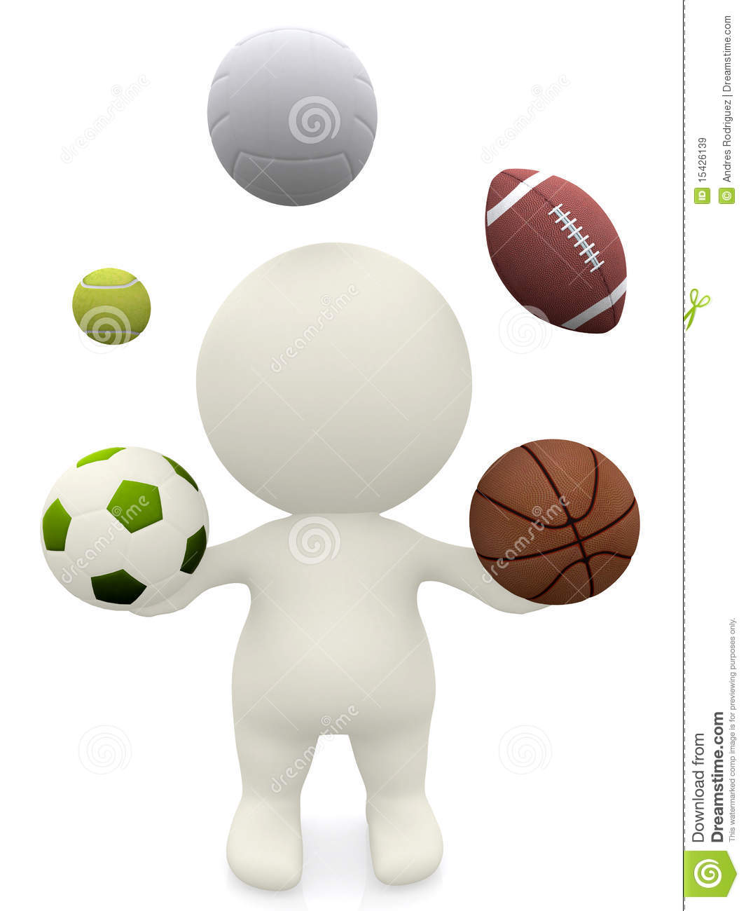 3d person juggling with sport balls stock illustration