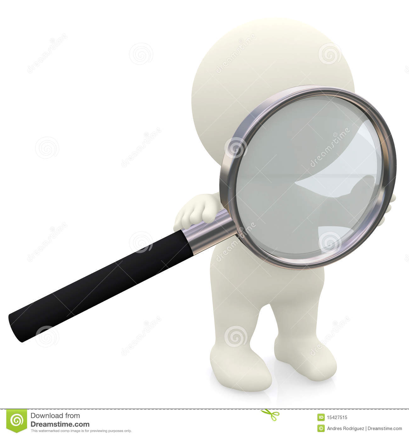 3D person holding a magnifier looking for something - isolated over a ...