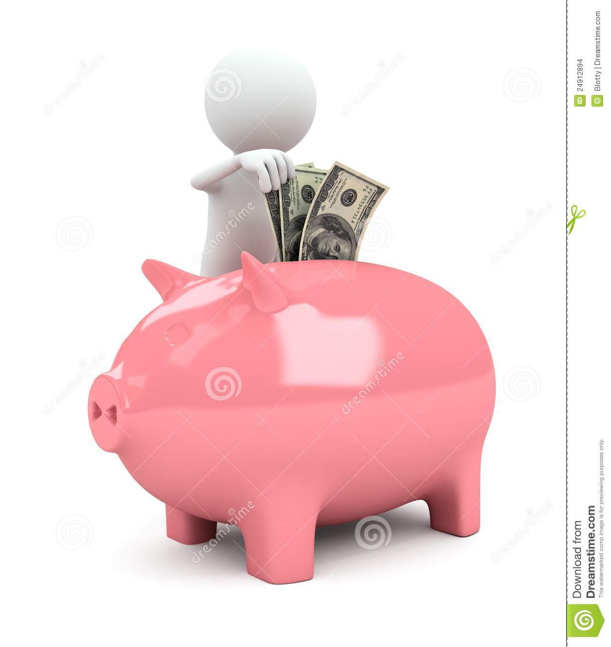 3d Person With Piggy Bank On White Background Stock Images