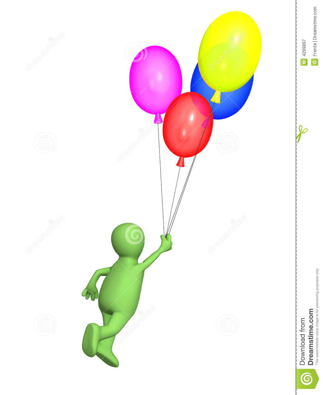 3d Person Puppet Flying By Balloons Royalty Free Stock